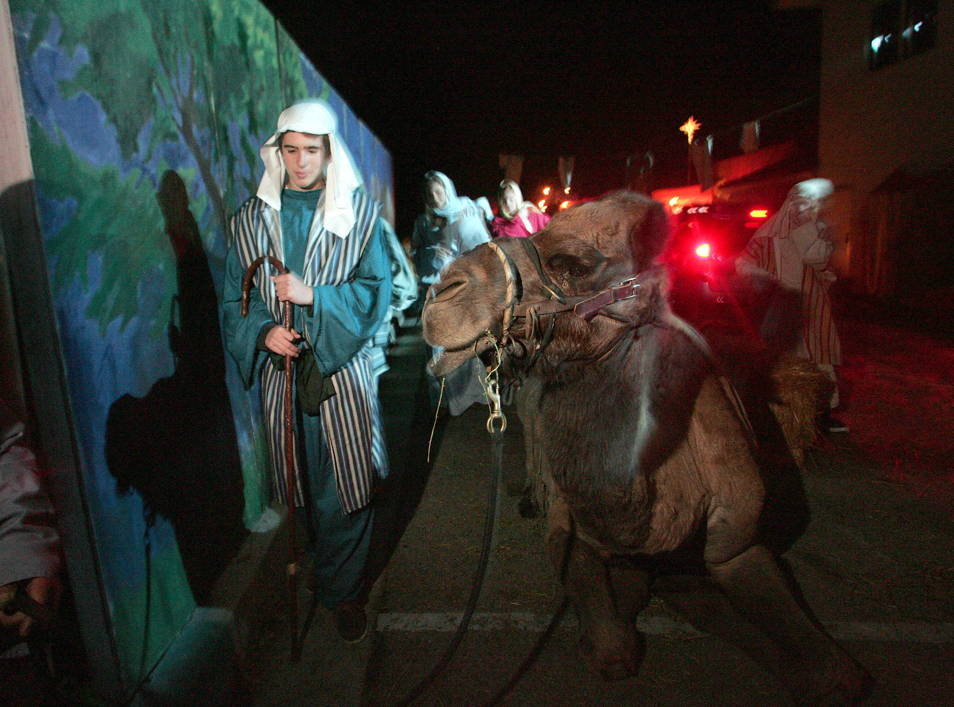 "Volunteer actor David Maslam passes by ""Kaleb"" the camel during the 2012 Bethlehem Experience."