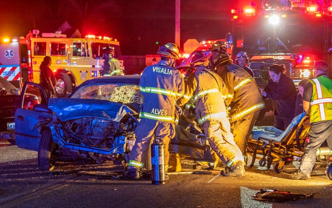Two people were transported to a local hospital with moderate to major injuries after a collision between three cars on Noble Avenue at McAuliff Street on Tuesday, December 11, 2018. A stolen Honda, one of two cars traveling east at high speeds, struck a third car stopped at the stop sign. The second car struck the Honda immediately afterward. The driver from the Honda was pinned in until firemen could get him out and is suspected of driving under the influence. Occupants of the Honda were all juveniles. Visalia Police are investigating the cause and relationships between occupants of the speeding cars.