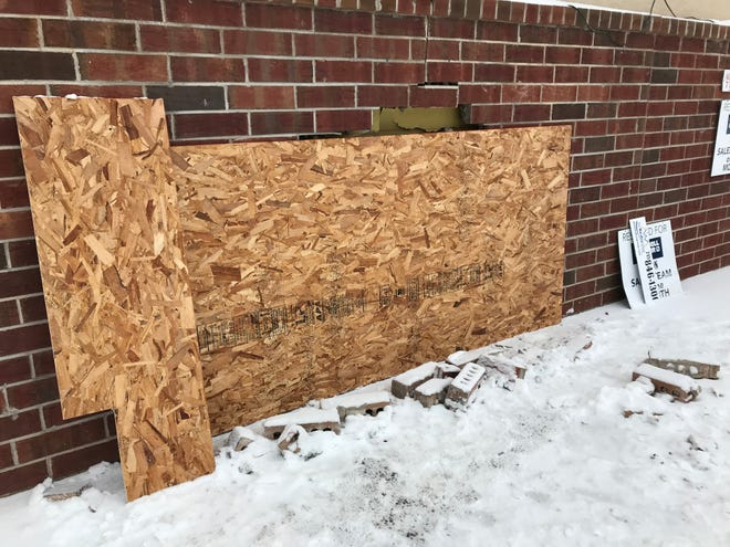 A car crashed into the side of the Coldwell Banker building in Schofield Wednesday morning. No one was hurt.