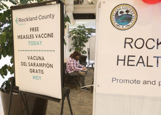 Health officials gave out free measles, mumps, rubella (MMR) vaccines to residents at the Palisades Center on Dec. 11, 2018. There are currently 91 measles cases in the county and eight under investigation, and officials said the Best Buy at the Palisades Center was one of the sites recently visited by a measles infected person.