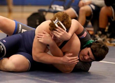 Eric Genua of Suffern defeated Jon Schanil of Carmel in a 220 pound match during a Section 1 Dual Meet tournament quarterfinal wrestling meet at Suffern High School Dec. 11, 2018.