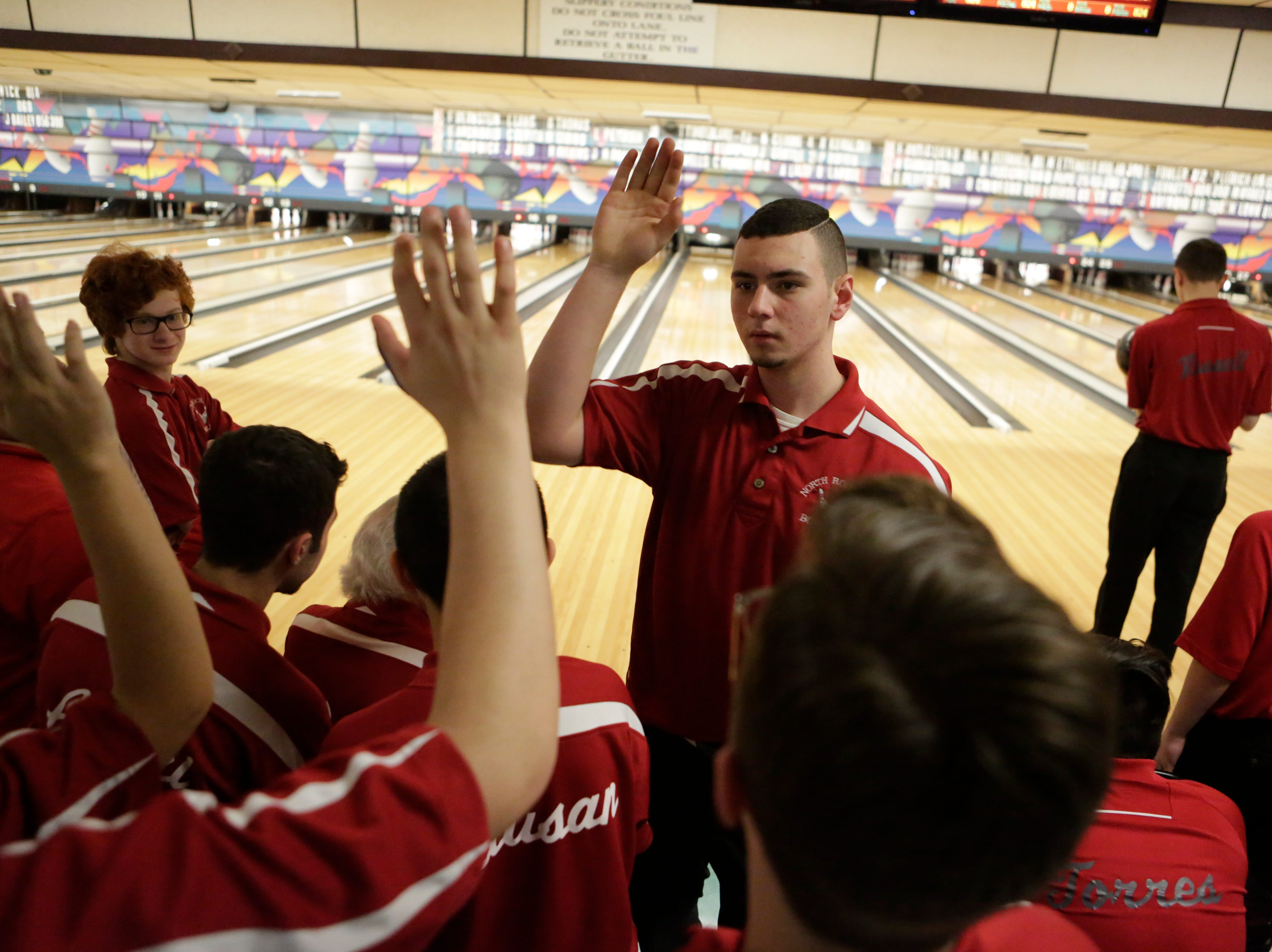 North Rockland's Nick Varano at the Section 1 Bowling tournament at the Fishkill Bowl in Fishkill on Feb. 13, 2018.