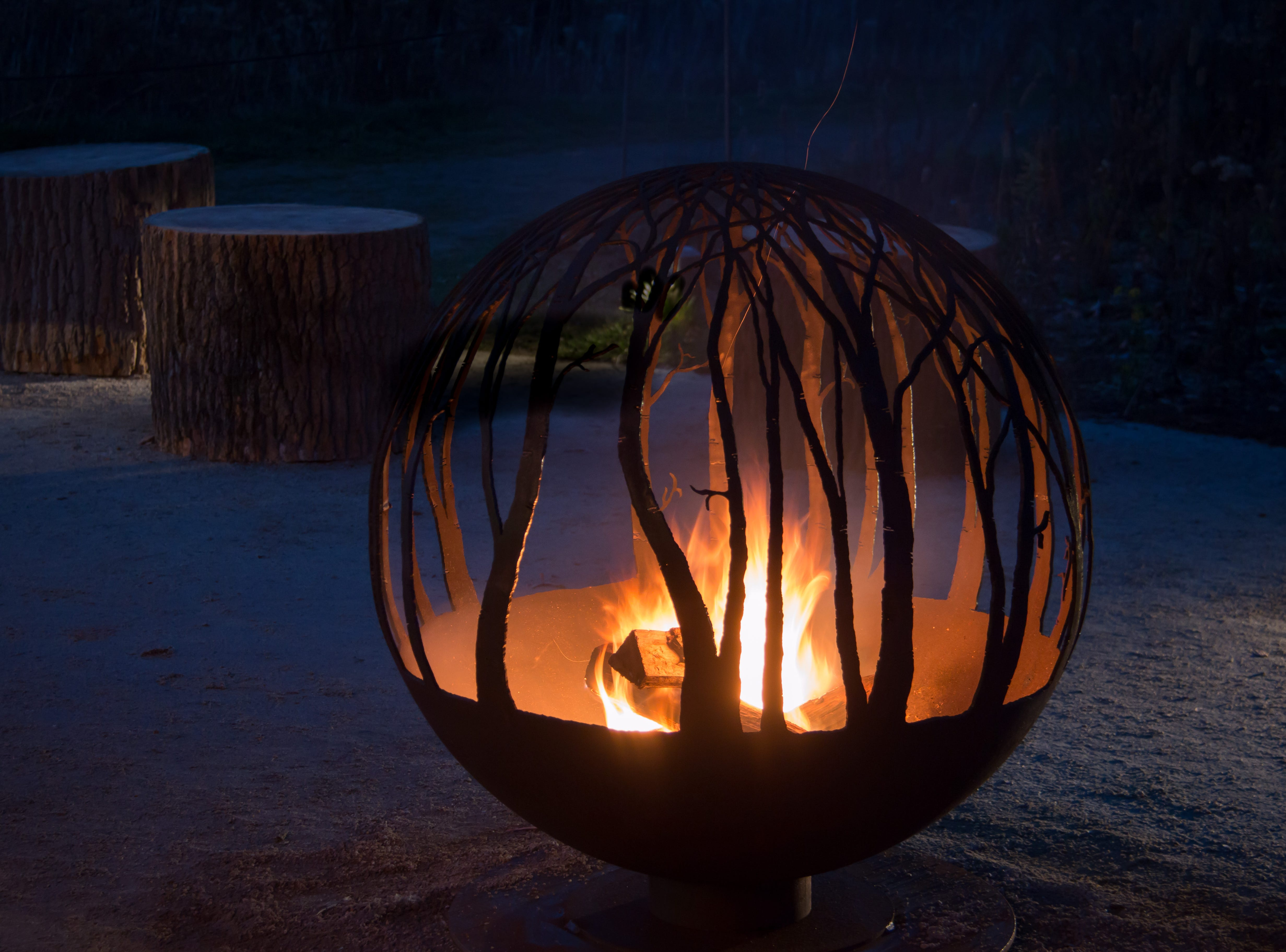 This is one of three popular firepits on the grounds during a A Longwood Christmas.