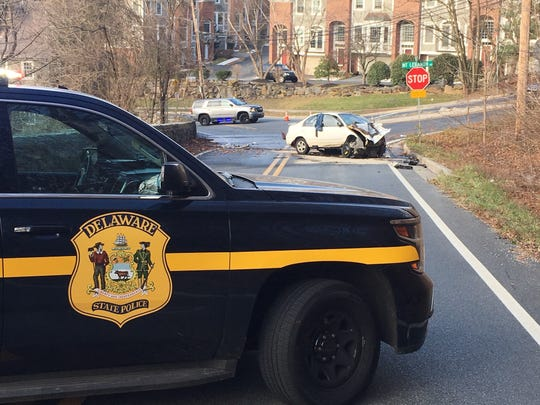 State police said a car that was driving in the wrong lanes on Concord Pike Wednesday afternoon turned off the high, failed to make a turn and crashed into a stone wall.