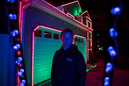Jake Musser has been putting on Christmas light shows since he was 12 or 13. Now 20 years old, he is going for his biggest display yet with about 6,000 lights programmed to music he mixed himself.