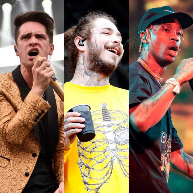Firefly Music Festival's 2019 edition will be headlined by pop/rock act Panic! at the Disco (left) along with rappers Post Malone (center) and Travis Scott.