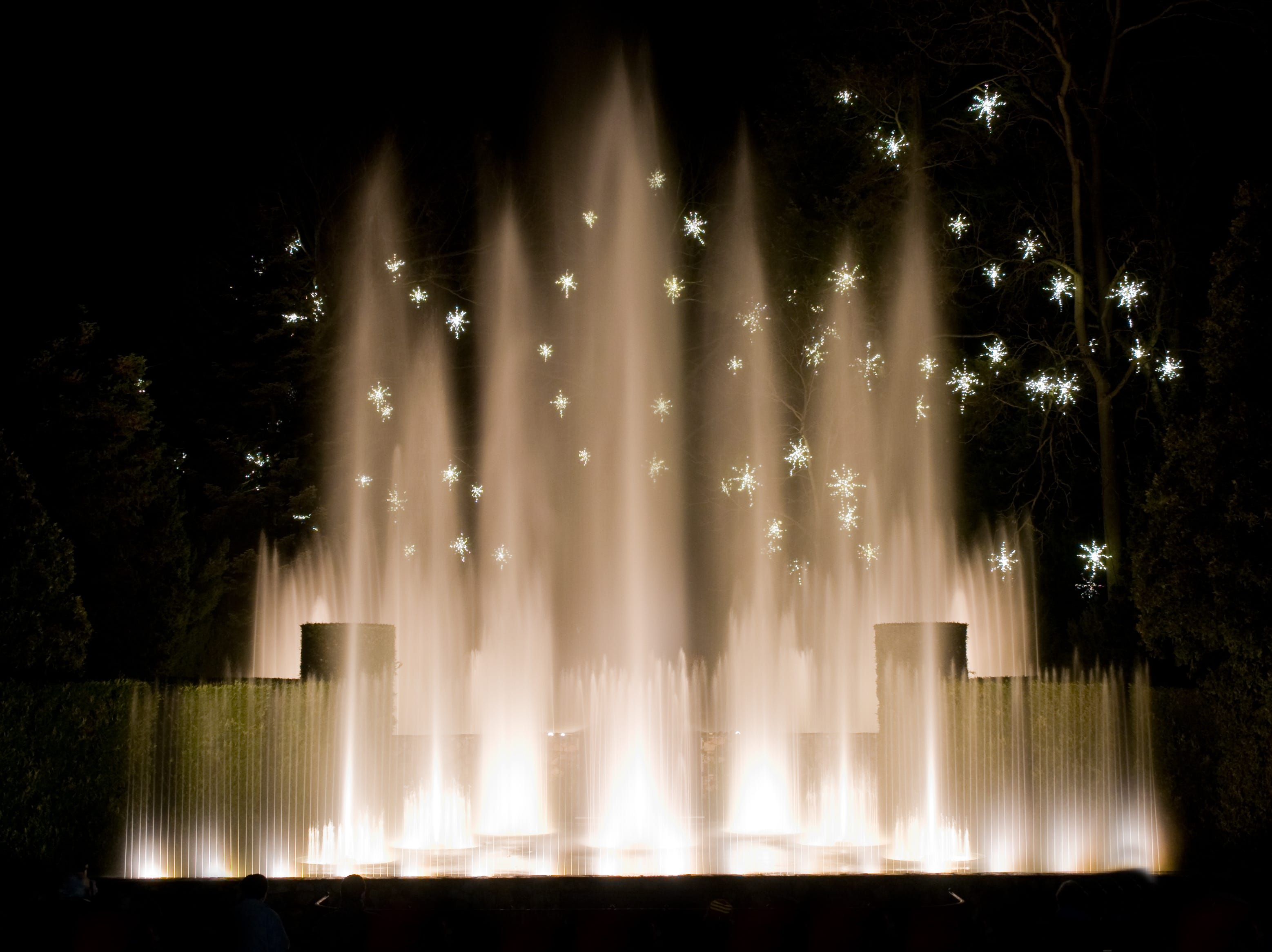 The Open Air Theatre fountains run lighted shows every few minutes during A Longwood Christmas. but the main fountains close for the winter.