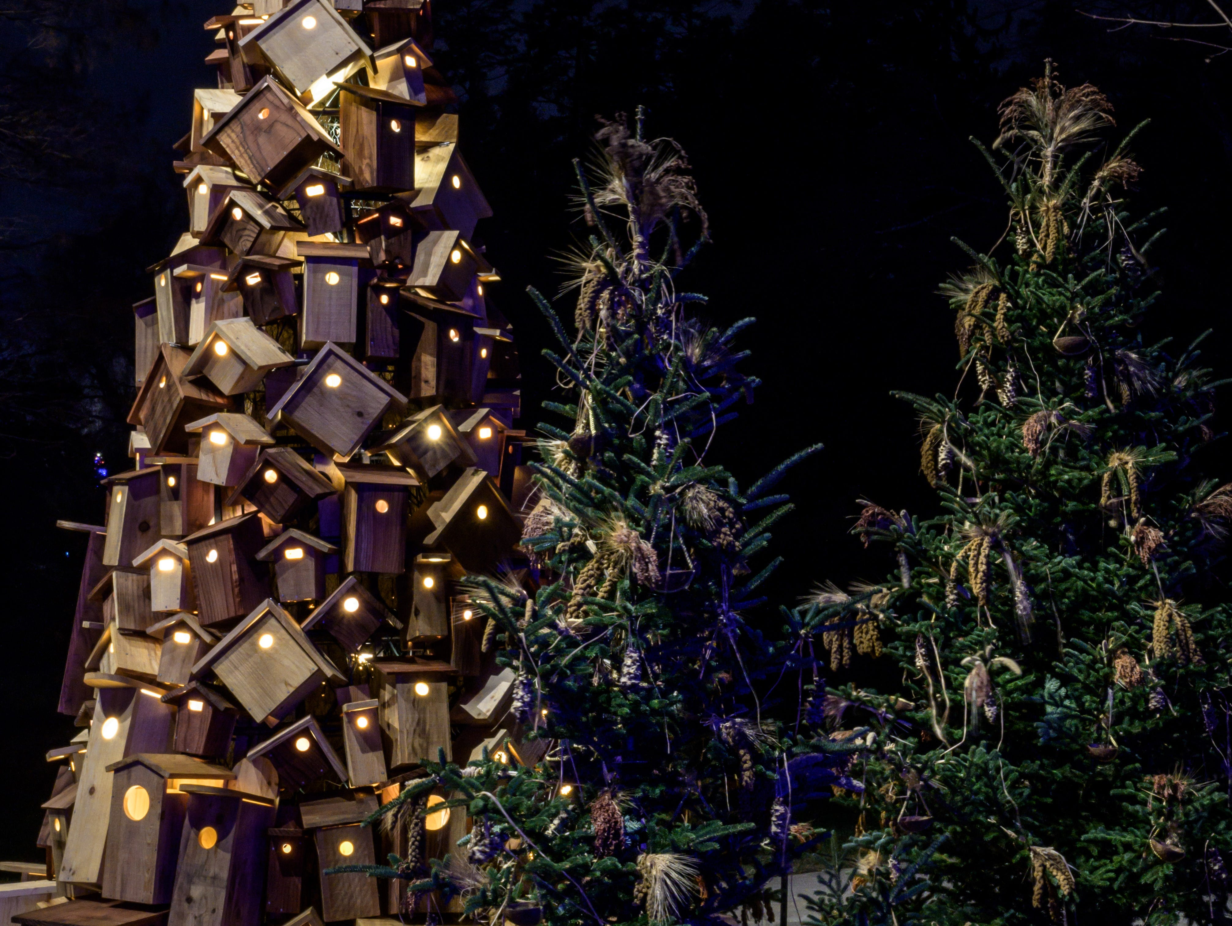 Longwood Gardens' popular Wildlife Tree is reinvented as a 13-foot conical tree covered in 200 handmade birdhouses.