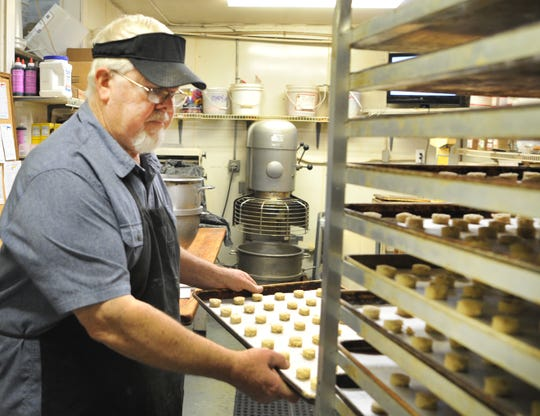 Margie's Sweet Shop, 6-hour-man, Gene Gerstner prepares a batch of vanilla Wafers to be baked Wednesday afternoon in their Bakery located on Call Field Rd.