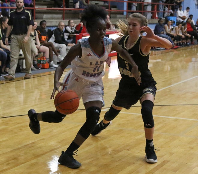 Hirschi's Patience Murphy dribbles by Rider's Hannah Lawrence Tuesday, Dec. 11, 2018, at Hirschi. The Lady Huskies defeated the Lady Raiders 51-35.