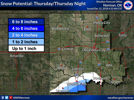 Rain may mix with or change to snow in portions of the area on Thursday. The most likely area for accumulating snow is across northern Texas. 1 to 3 inches of snow is possible in areas south and southeast of Wichita Falls.