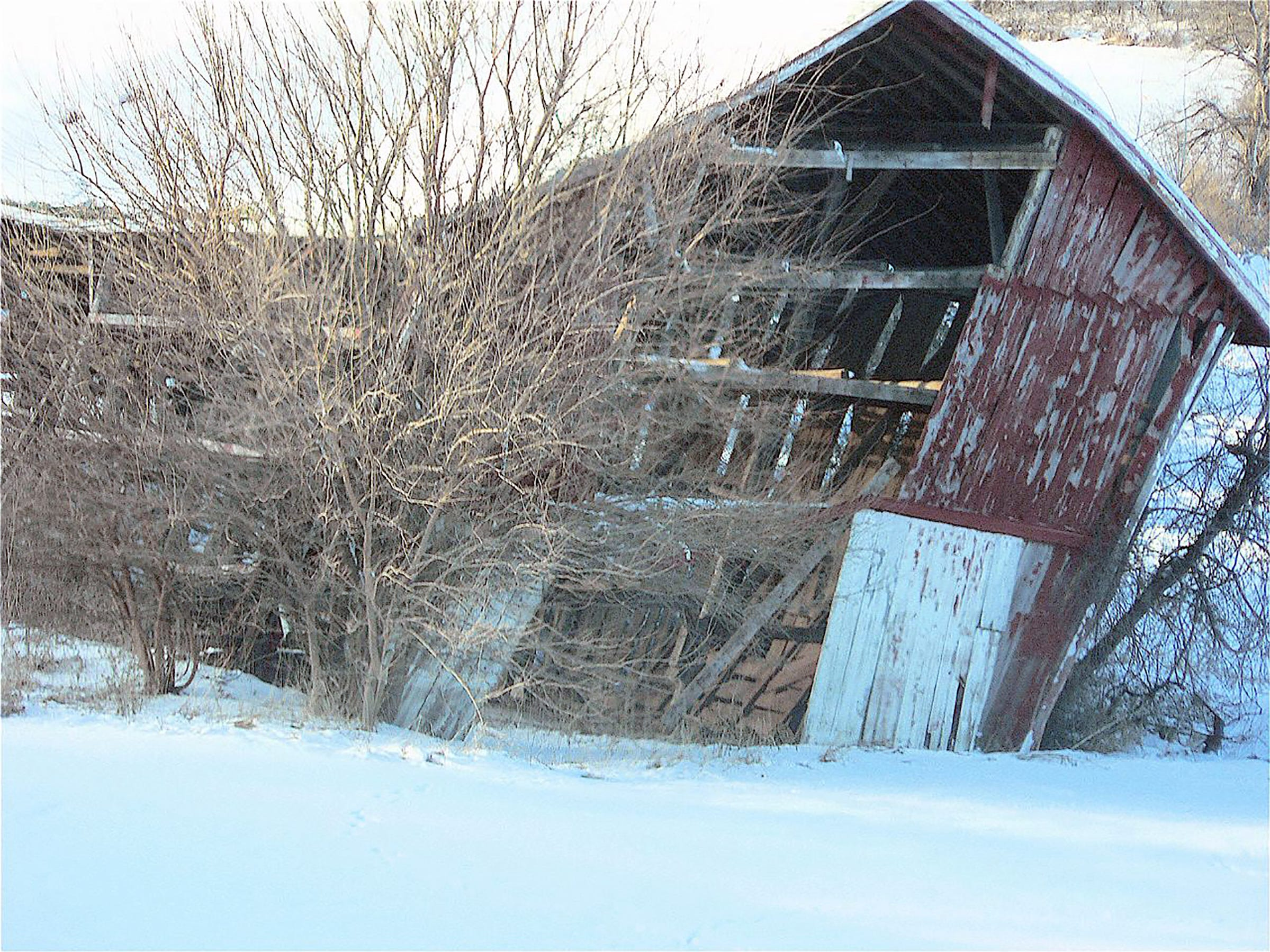 This old tobacco shed along Highway 12-18 east of Nora, has been gradually falling for years.