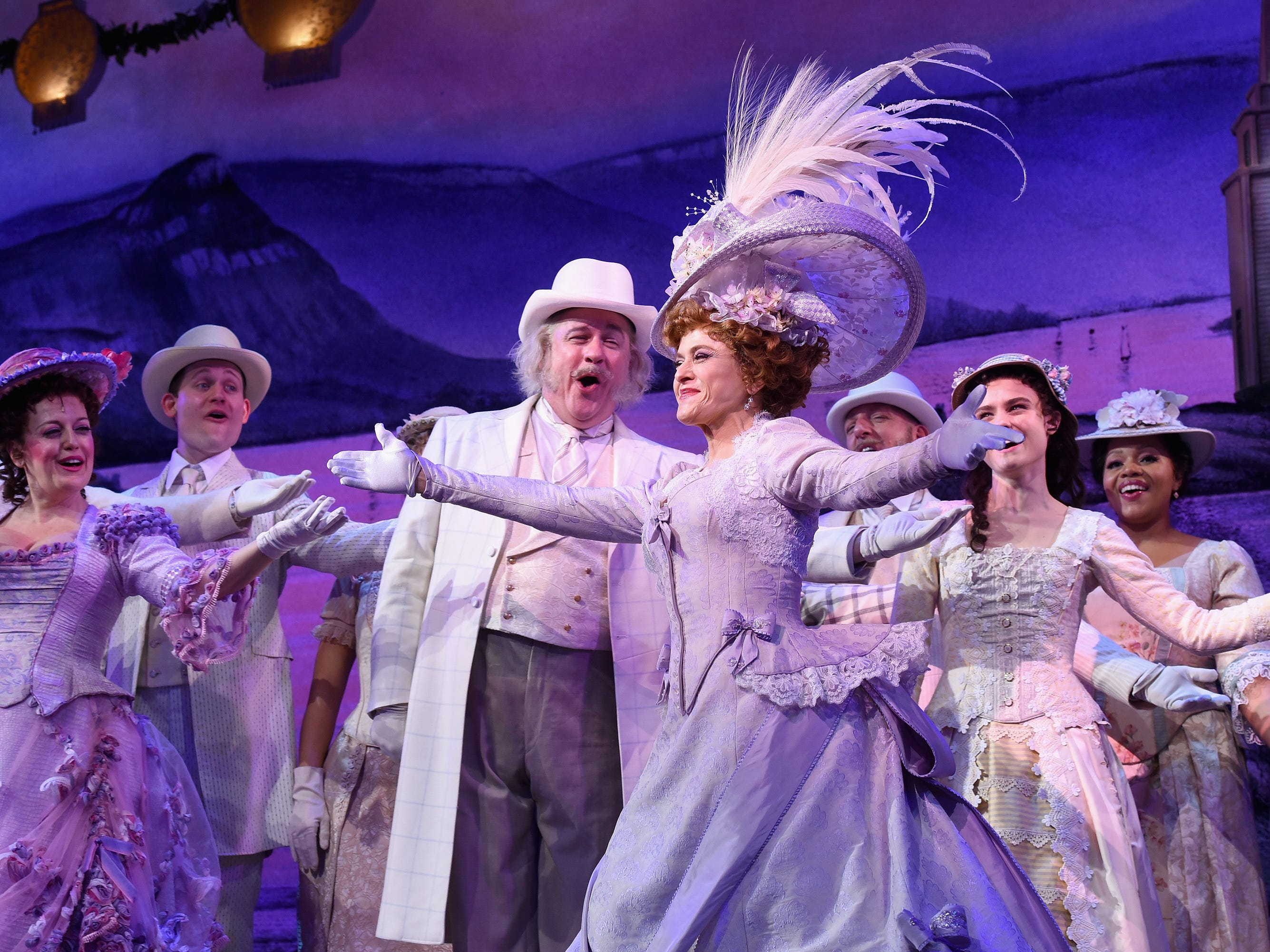 """Feb. 22: Peters herself takes a bow with the rest of the """"Hello, Dolly!"""" Broadway cast on opening night."""