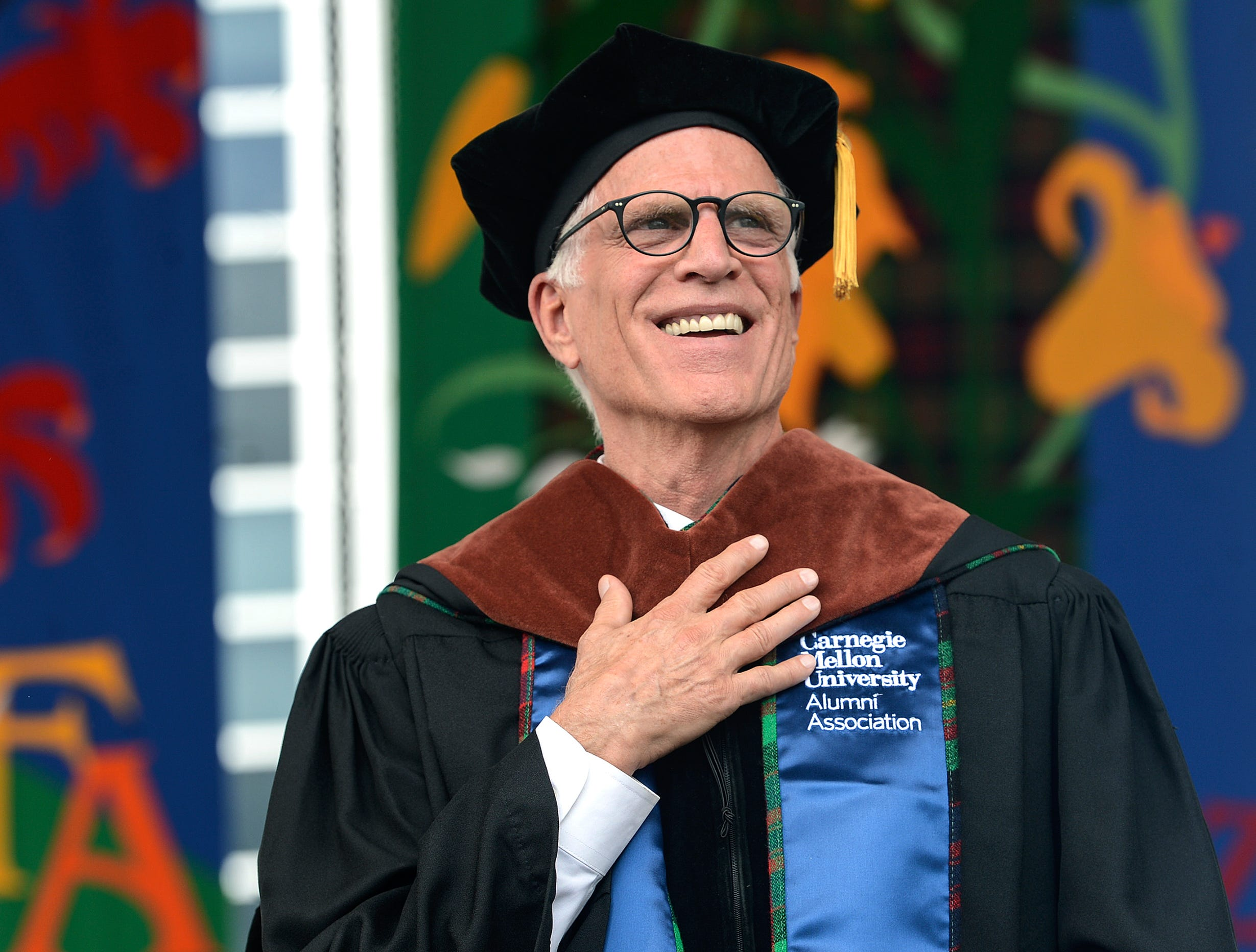 May 20: Ted Danson, a Carnegie Mellon graduate, smiles as he is given an honorary doctorate at the Carnegie Mellon University commencement ceremony.