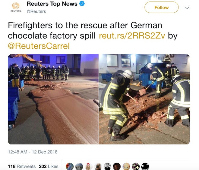 Monday night, a ton of liquid chocolate poured out of a factory and into a German street.