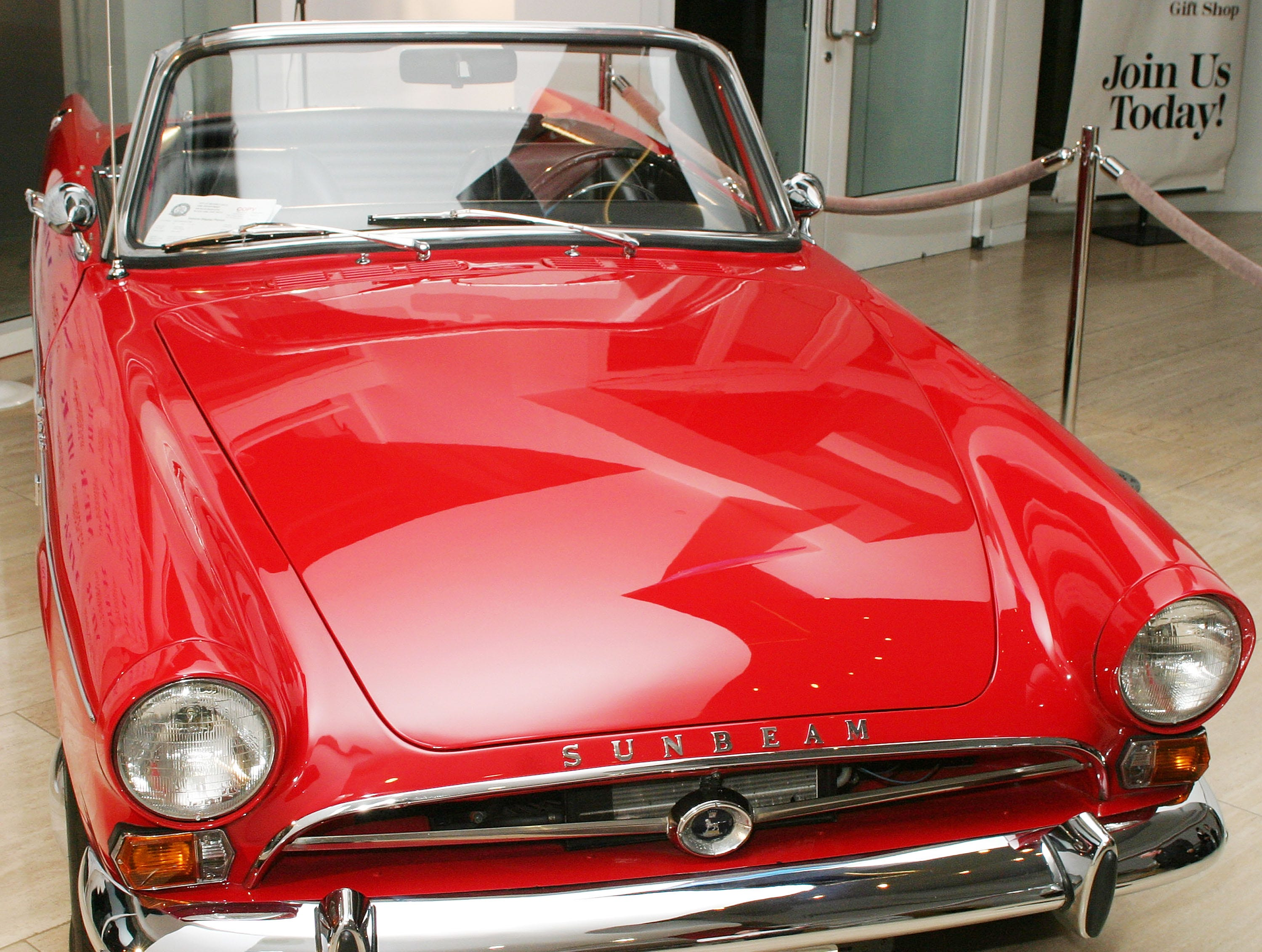 BEVERLY HILLS, CA - NOVEMBER 5:  A 1965 Sunbeam Tiger Car is shown on display during A Get Smart Reunion at The Museum of Television & Radio November 5, 2003 in Beverly Hills, California.  (Photo by Giulio Marcocchi/Getty Images)