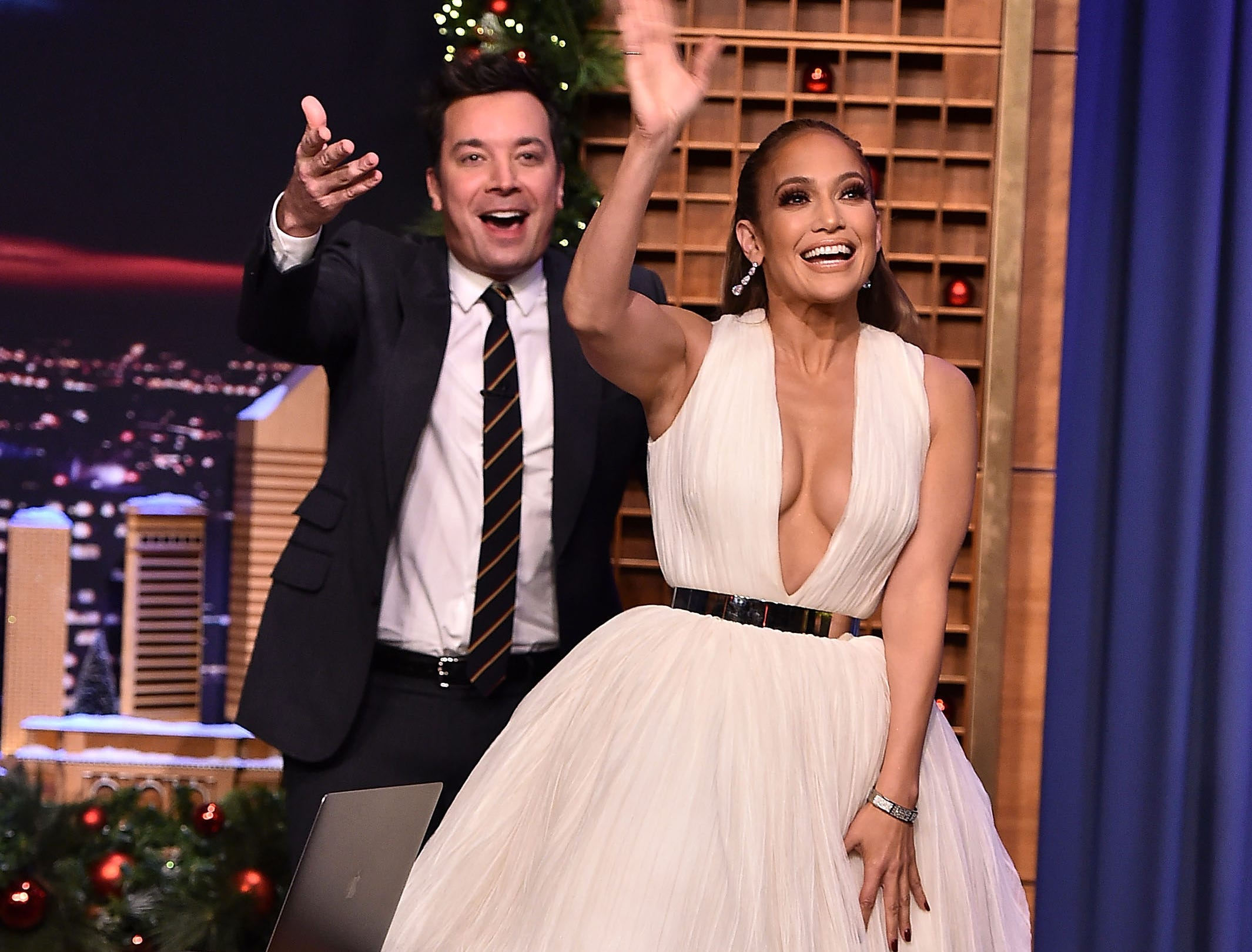 "December 11: Jennifer Lopez makes an appearance on ""The Tonight Show Starring Jimmy Fallon."""
