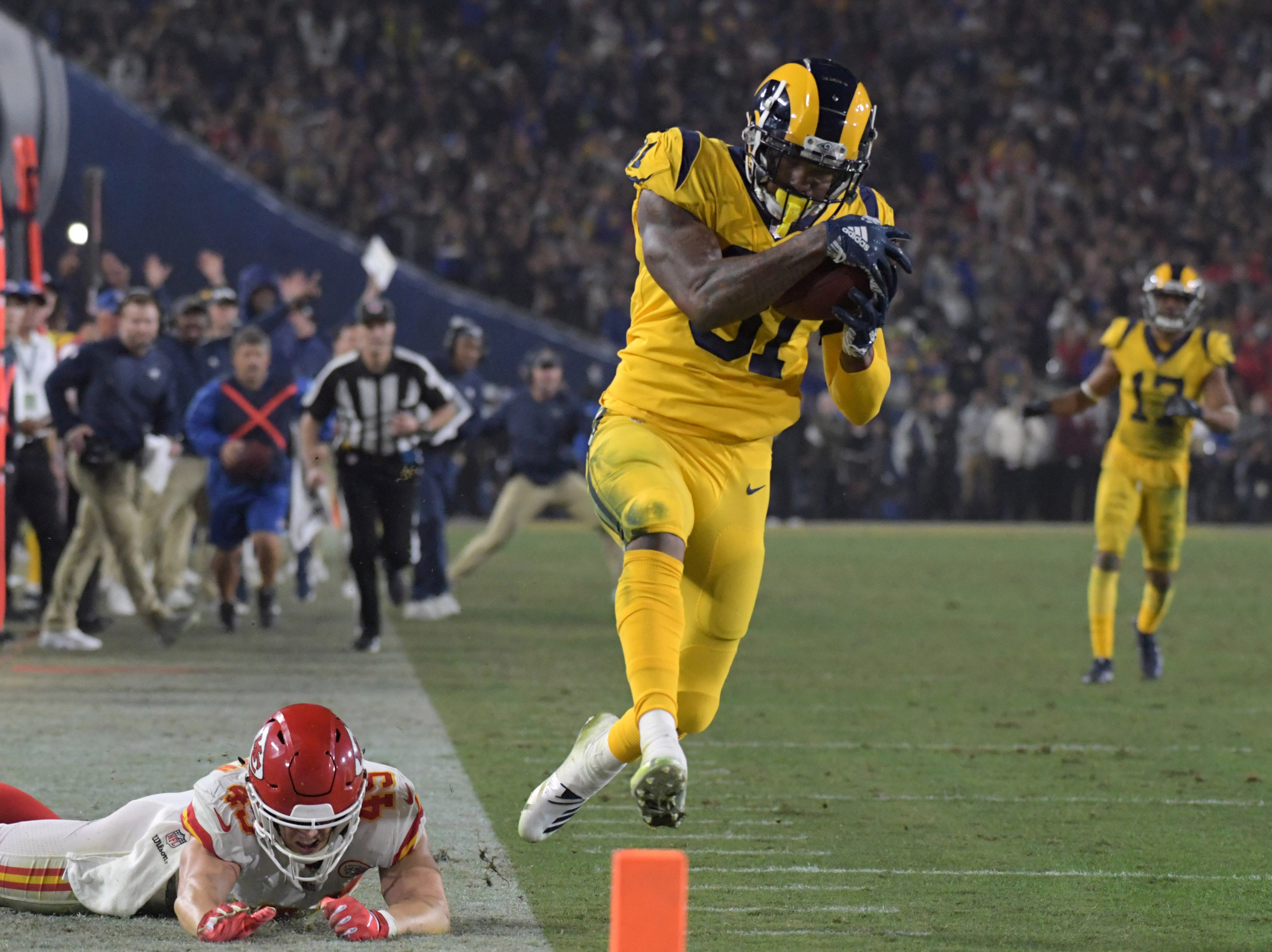 Nov. 19: Los Angeles Rams tight end Gerald Everett scores a touchdown with 58 seconds to go against the Kansas City Chiefs in what finished as the highest-scoring Monday Night Football game of all time.