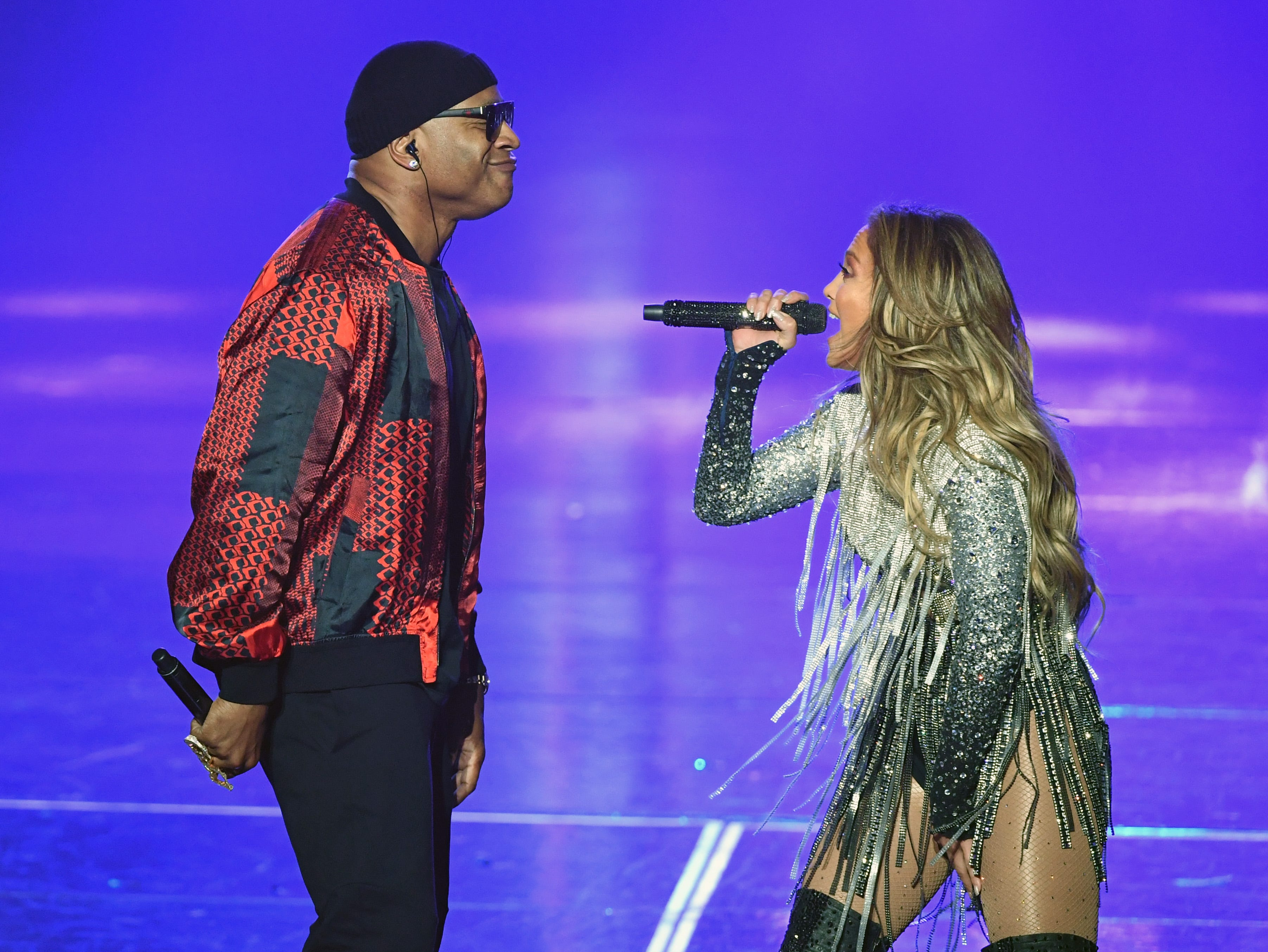"""September 29: LL Cool J and Jennifer Lopez perform during the finale of her residency, """"Jennifer Lopez: All I Have"""" in Las Vegas."""