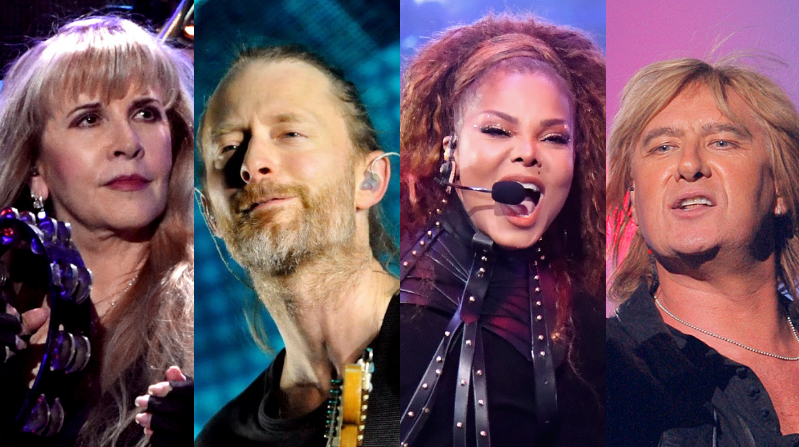 Stevie Nicks, Thom Yorke of Radiohead, Janet Jackson and Joe Elliott of Def Leppard.