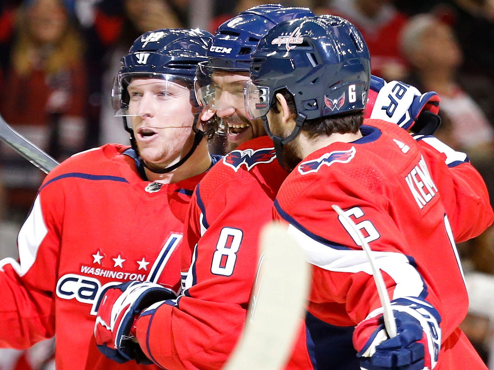 Dec. 11: Washington Capitals left wing Alex Ovechkin (8) is all smiles after scoring against the Detroit Red Wings. He recorded his 21st career hat trick in the 6-2 victory.