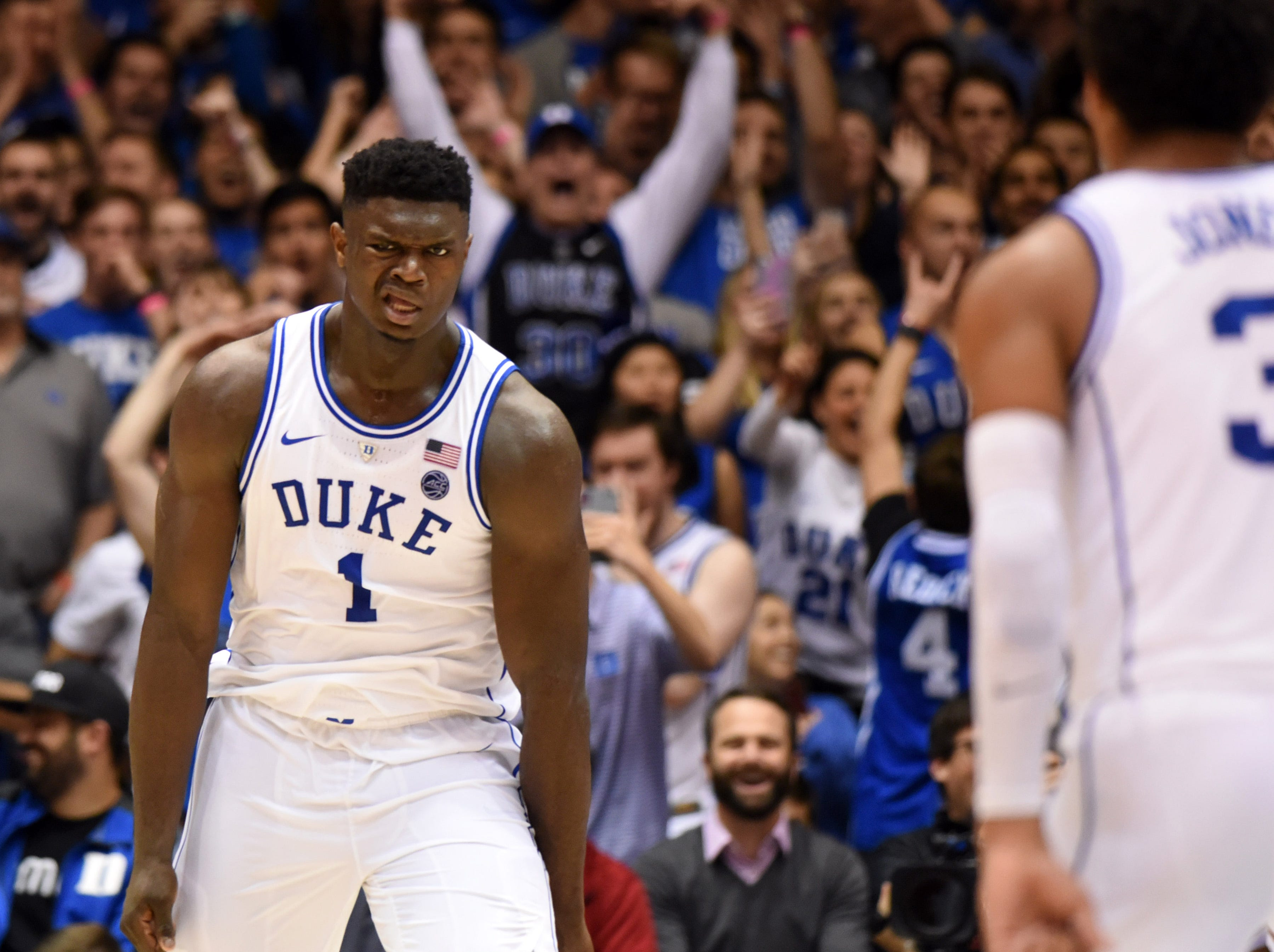 Nov. 27: Duke Blue Devils forward Zion Williamson reacts after a dunk during the second half against the Indiana Hoosiers at Cameron Indoor Stadium.