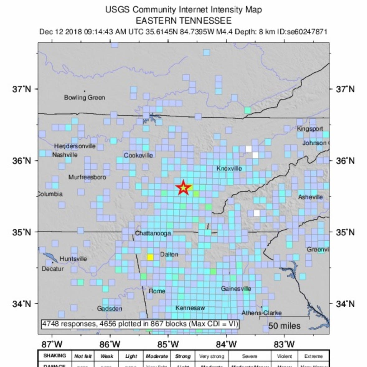 Magnitude 4.4 earthquake shakes Tennessee, Georgia