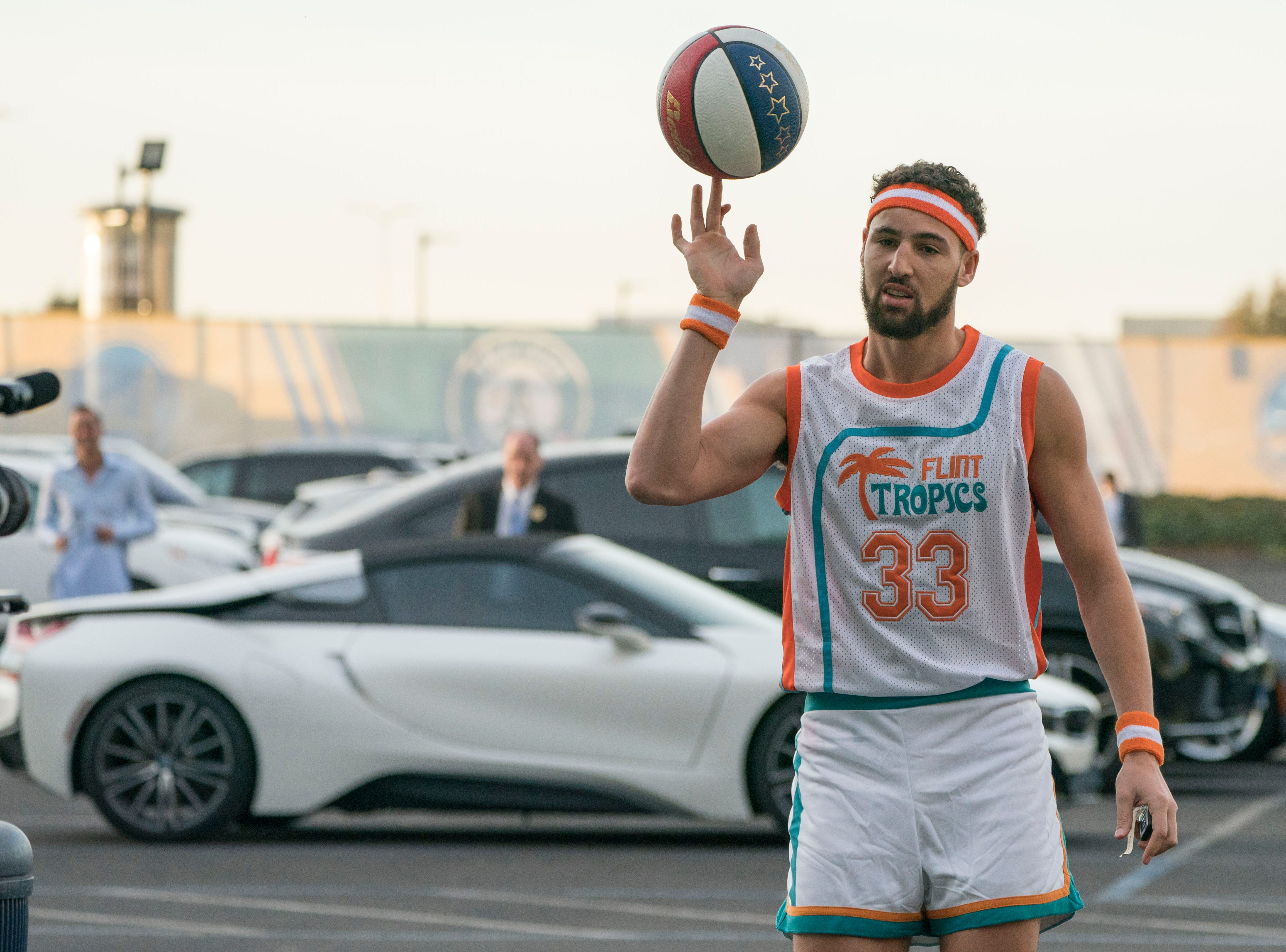 Oct. 31: Golden State Warriors guard Klay Thompson wears a Jackie Moon costume before the game against the New Orleans Pelicans.