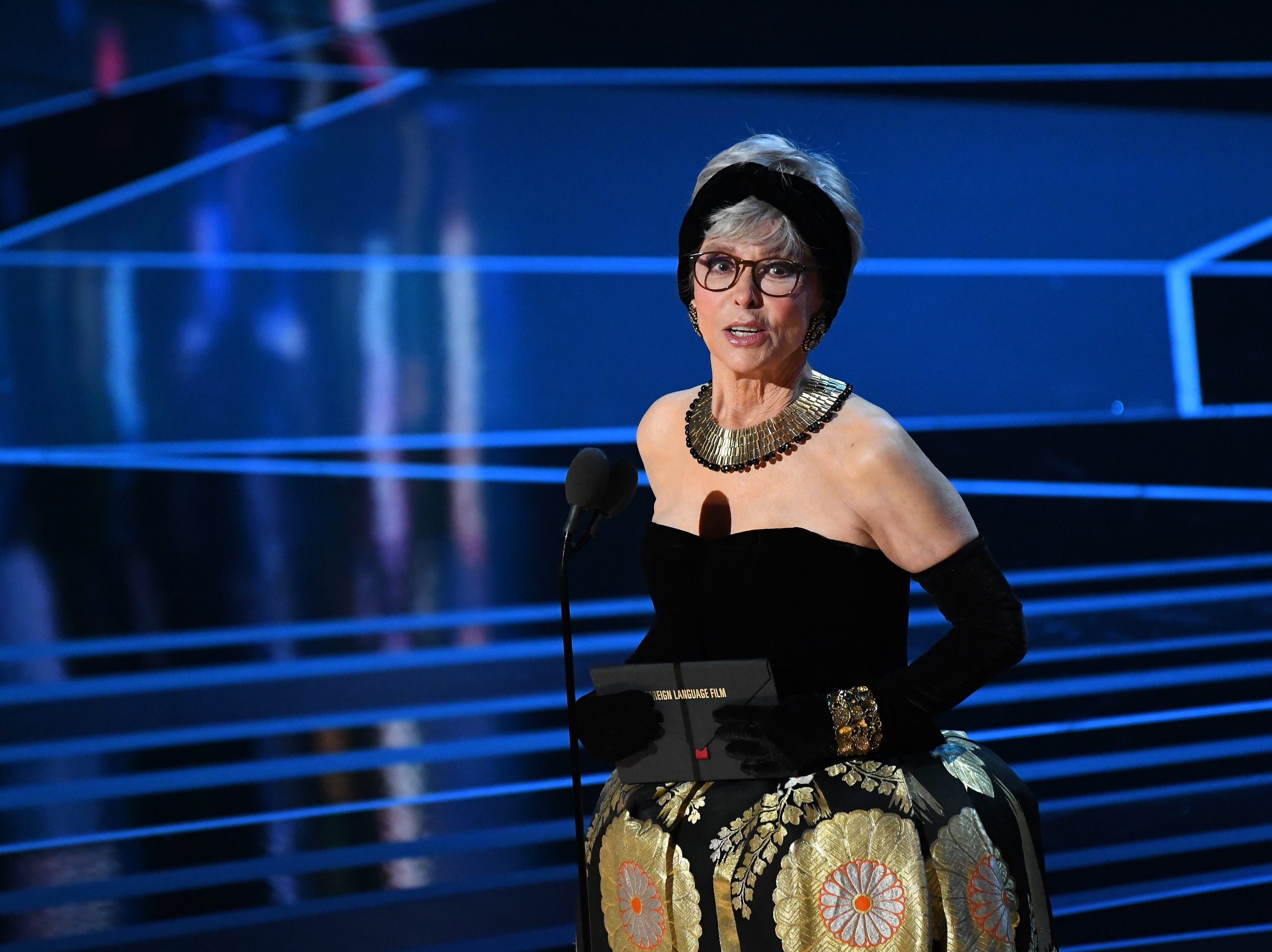 March 4: Rita Moreno presents at the Oscars while wearing the same dress she wore to the 1962 award show.