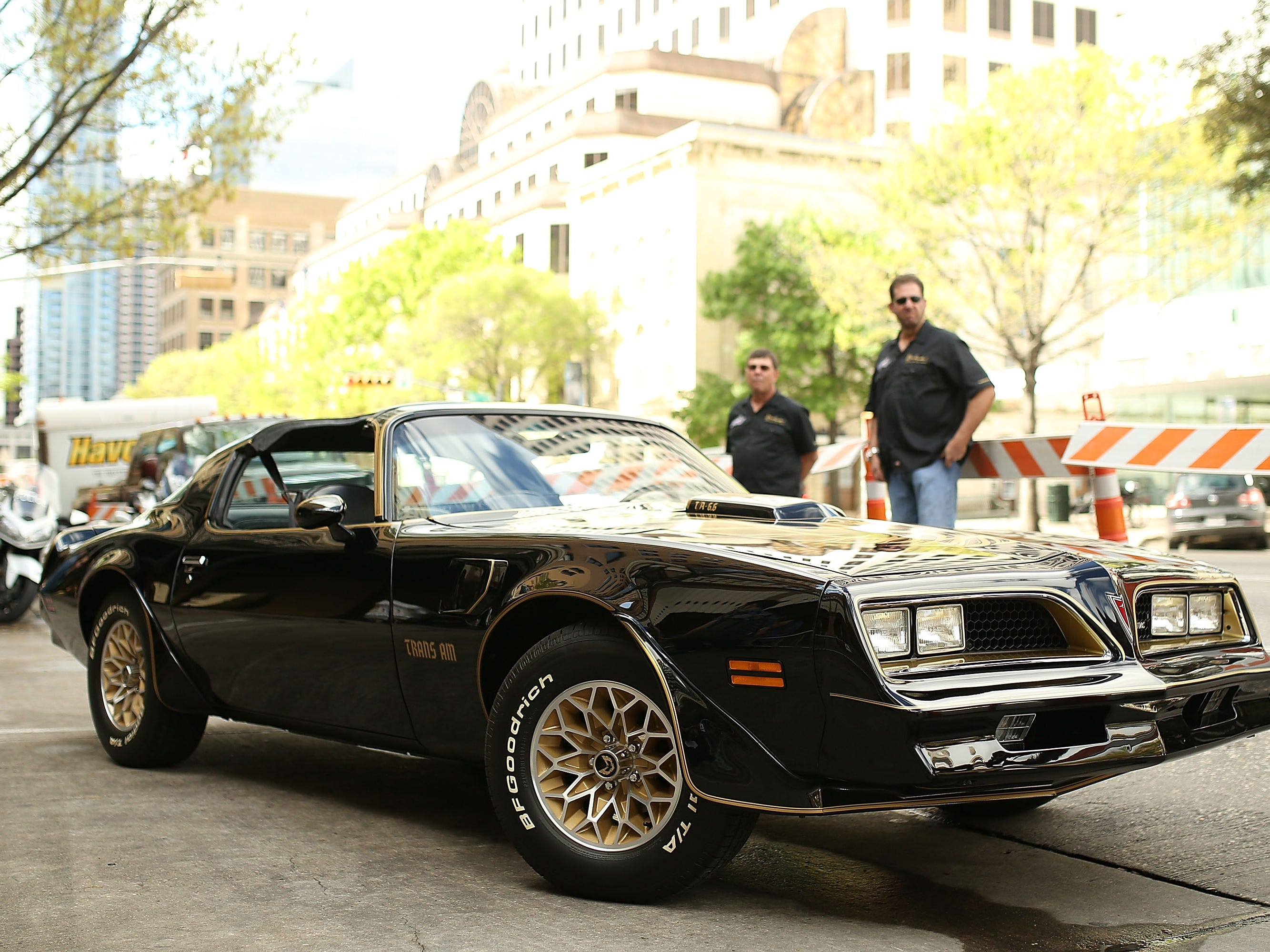 """AUSTIN, TX - MARCH 12:  The 1977 Pontiac Trans-Am from the TV show """"Smokey and The Bandit"""" is displayed during the screening of """"The Bandit"""" during the 2016 SXSW Music, Film + Interactive Festival at Paramount Theatre on March 12, 2016 in Austin, Texas.  (Photo by Mike Windle/Getty Images for SXSW)"""
