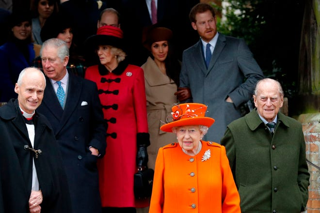 Queen Elizabeth II and her family after Christmas Day service at St. Mary Magdalene Church at Sandringham, on Dec. 25, 2017.