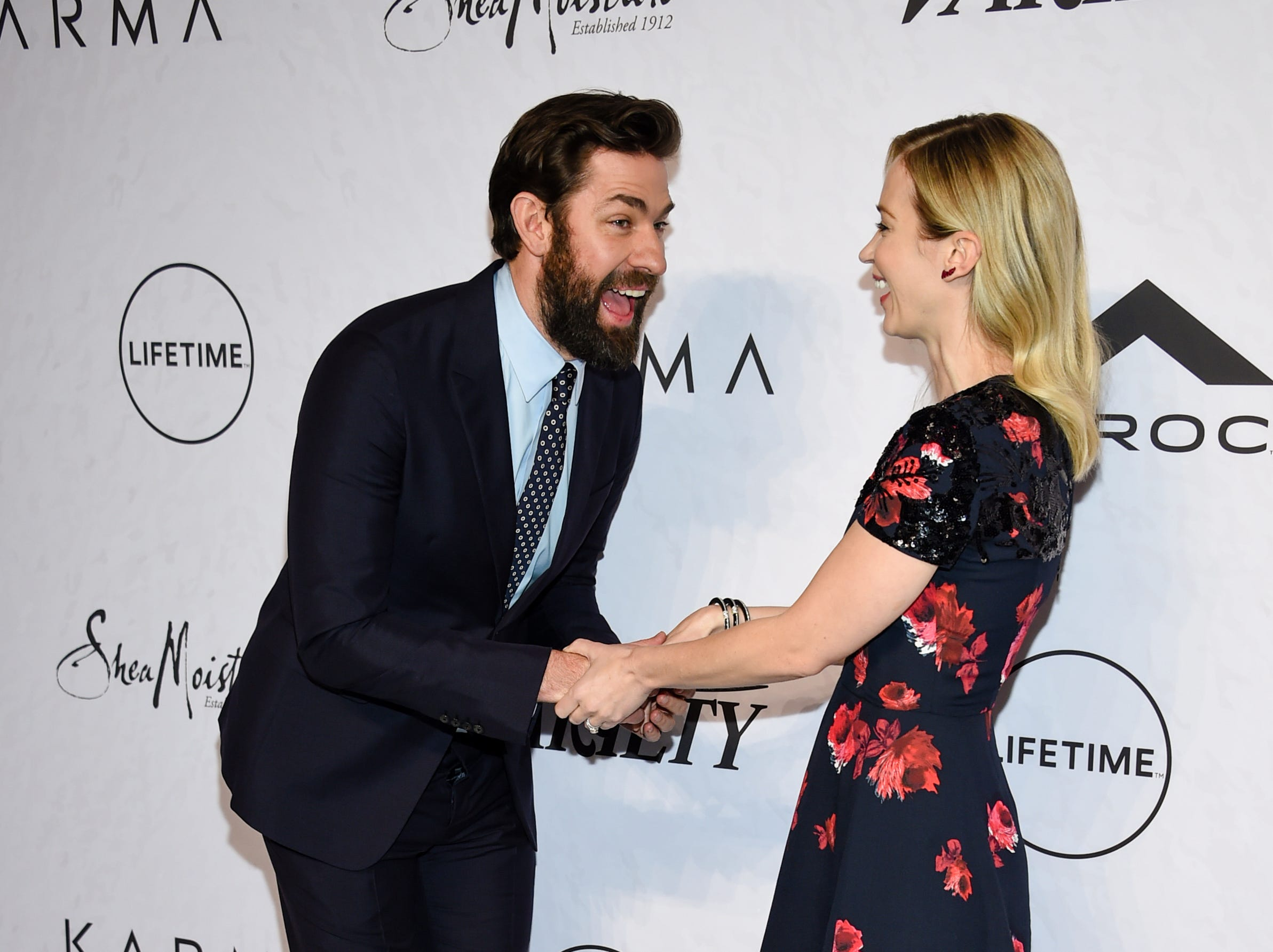 April 13: Actor/director John Krasinski and his wife, honoree Emily Blunt, attend Variety's Power of Women: New York event in New York.