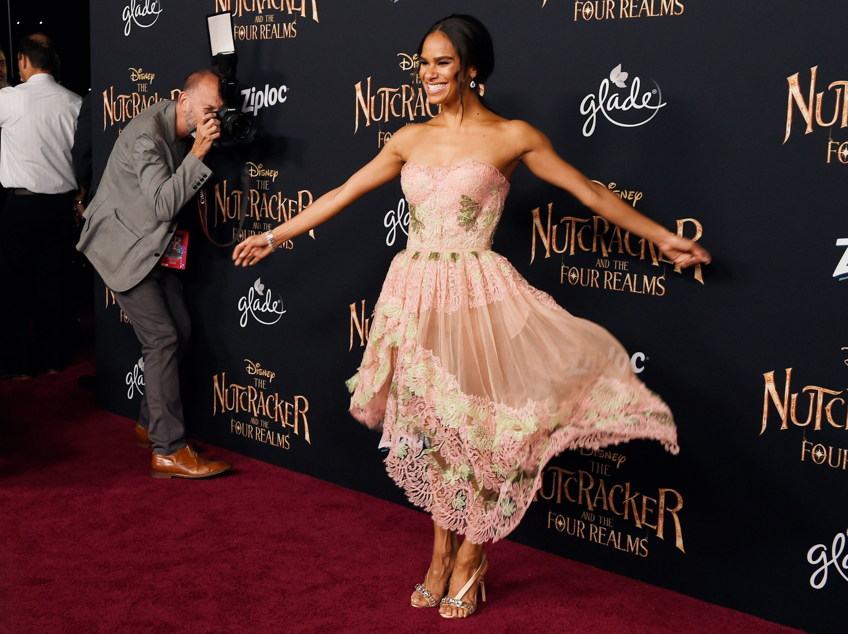 """October 29:Ballet dancer Misty Copeland, a cast member in """"The Nutcracker and the Four Realms,"""" poses at the premiere of the film."""