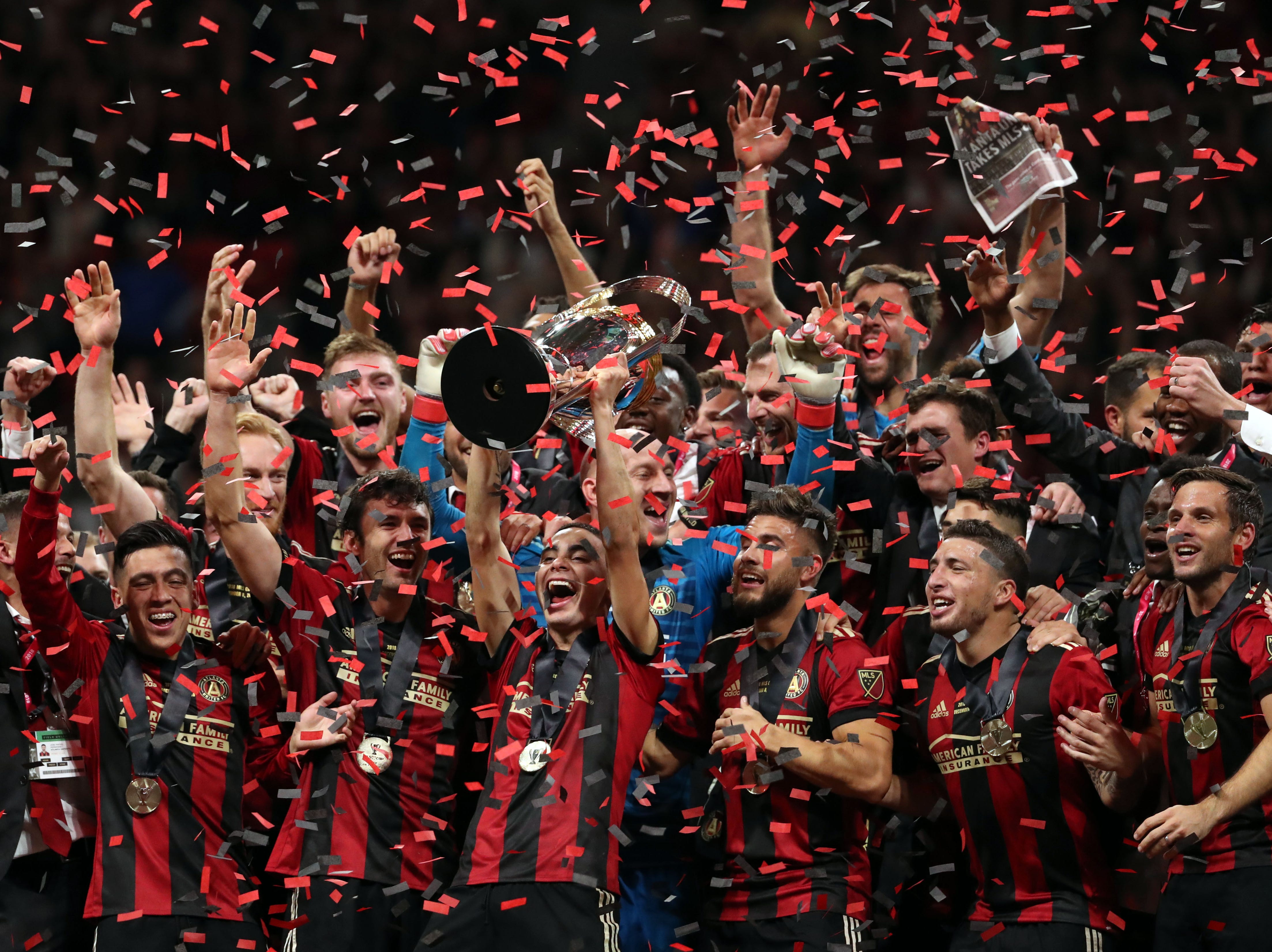 Dec. 8: Atlanta United celebrates after defeating the Portland Timbers to win the MLS Cup.