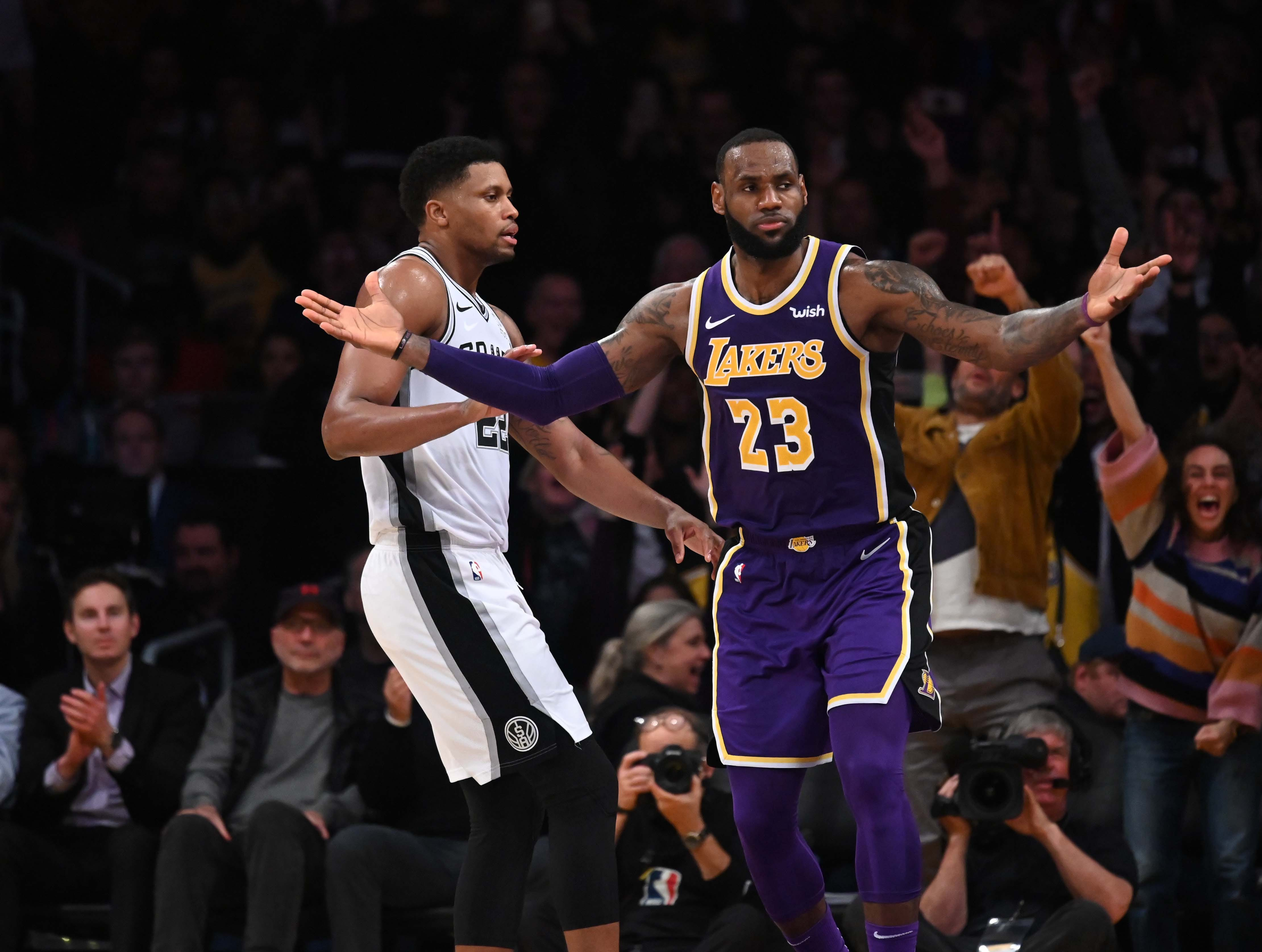 Dec. 5: Los Angeles Lakers forward LeBron James celebrates in the fourth quarter against the San Antonio Spurs at Staples Center.
