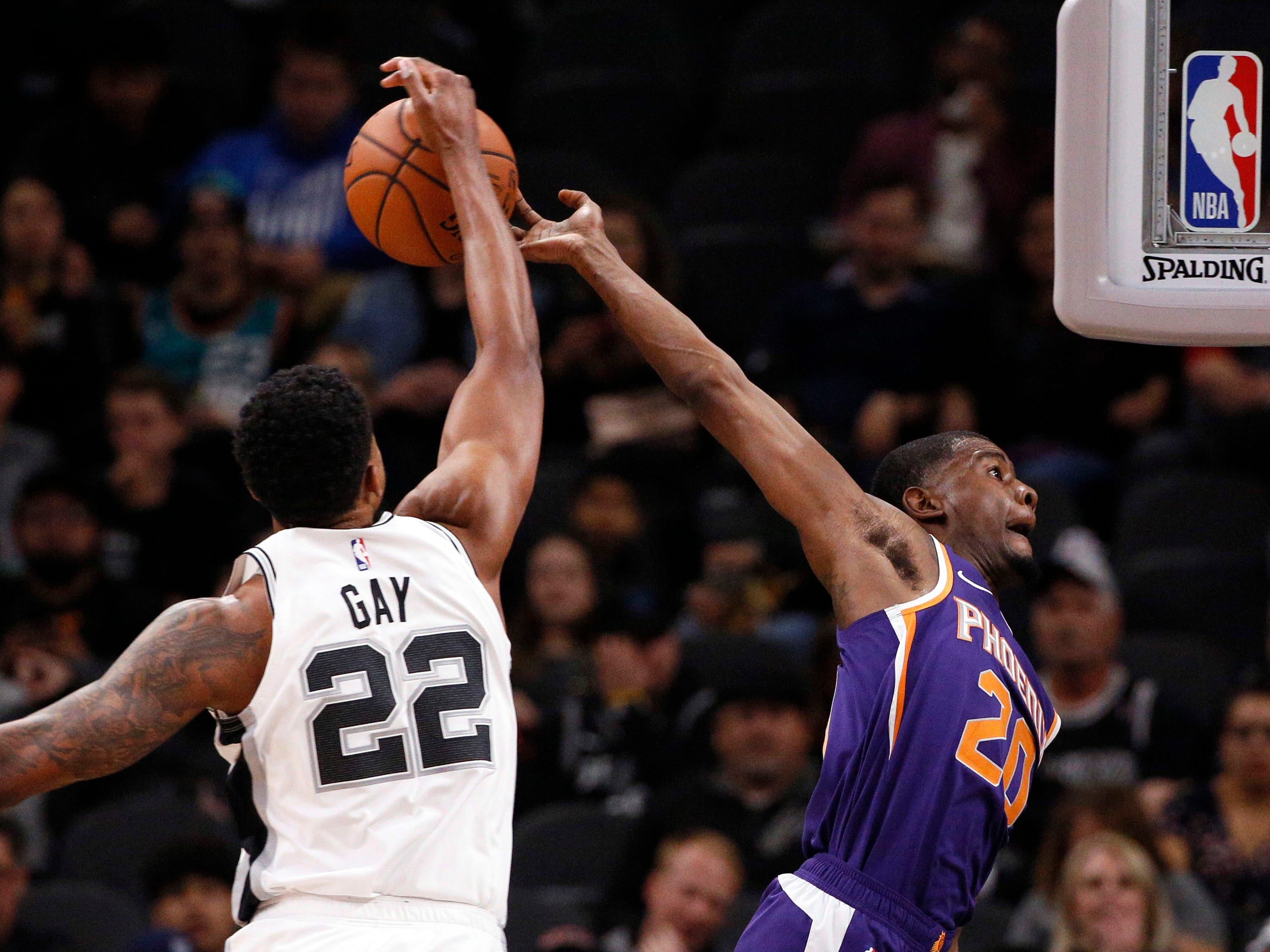 Dec. 11: Suns small forward Josh Jackson has his shot blocked by Spurs small forward Rudy Gay during the first half at AT&T Center.