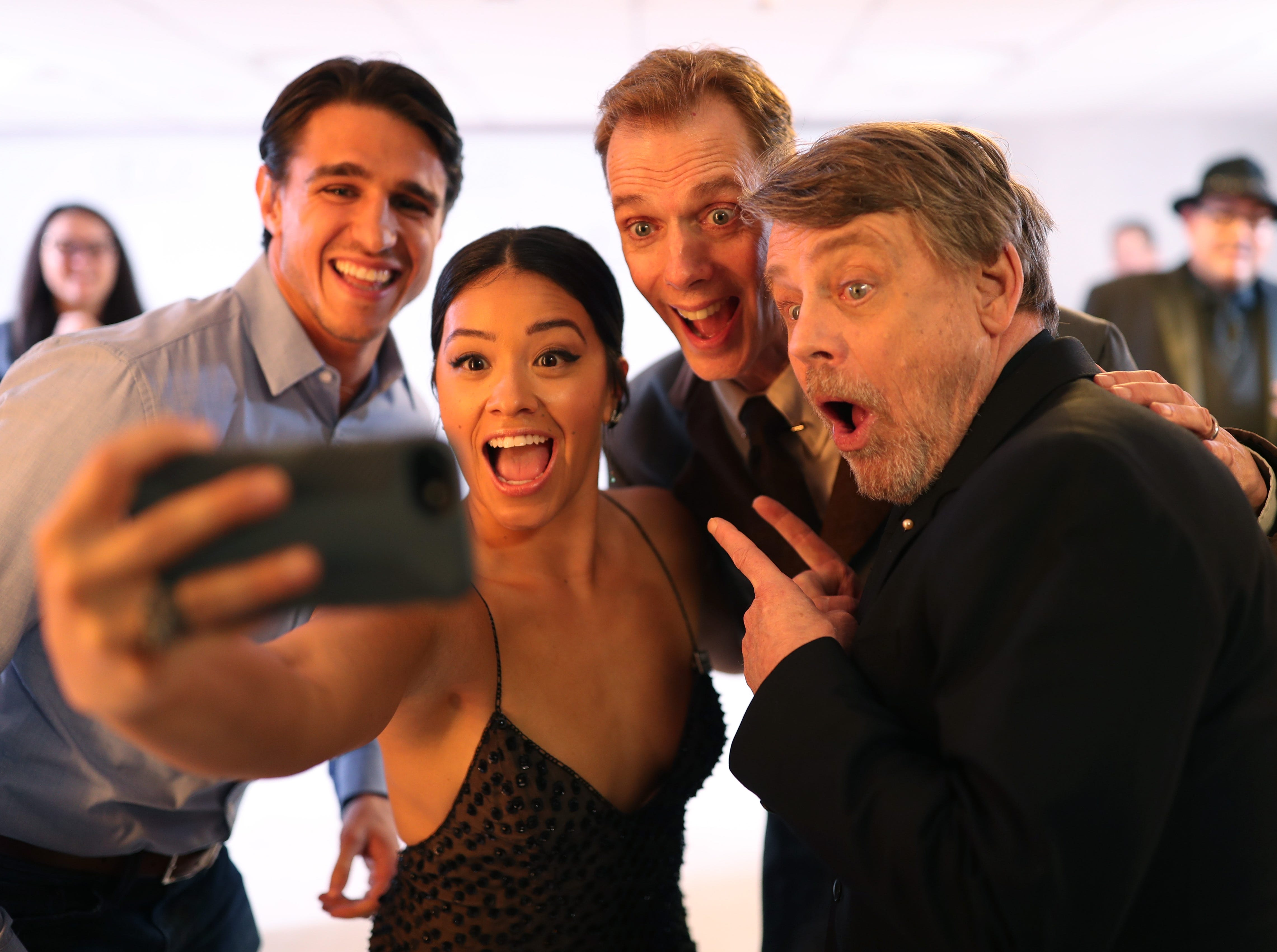 Feb. 20: Joe Locicero, Gina Rodriguez, Doug Jones and Mark Hamill pause for a selfie at the Costume Designers Guild Awards in Beverly Hills, California.