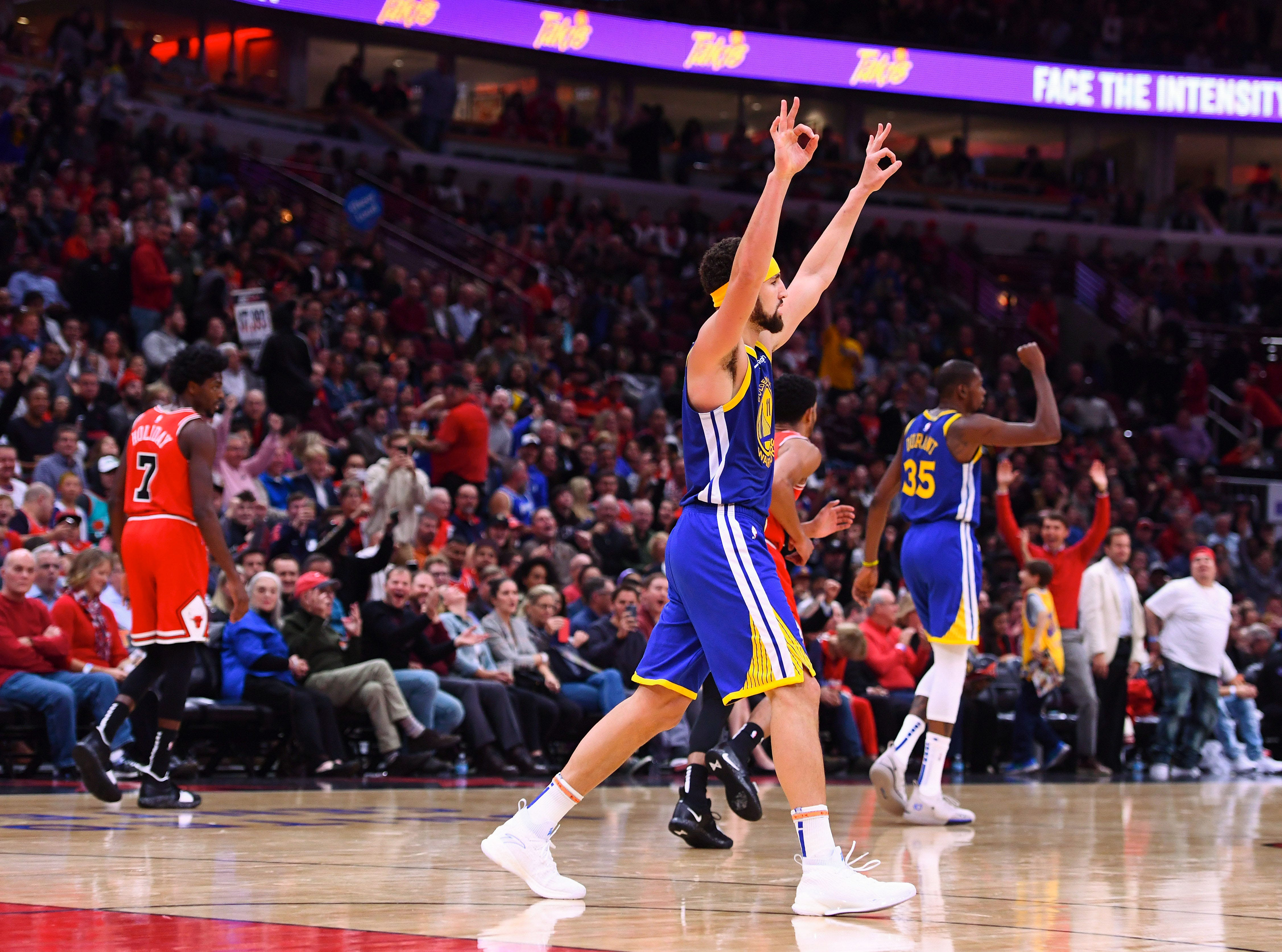 Oct. 29: Golden State Warriors guard Klay Thompson reacts after making a record-breaking 14th 3-pointer against the Chicago Bulls.