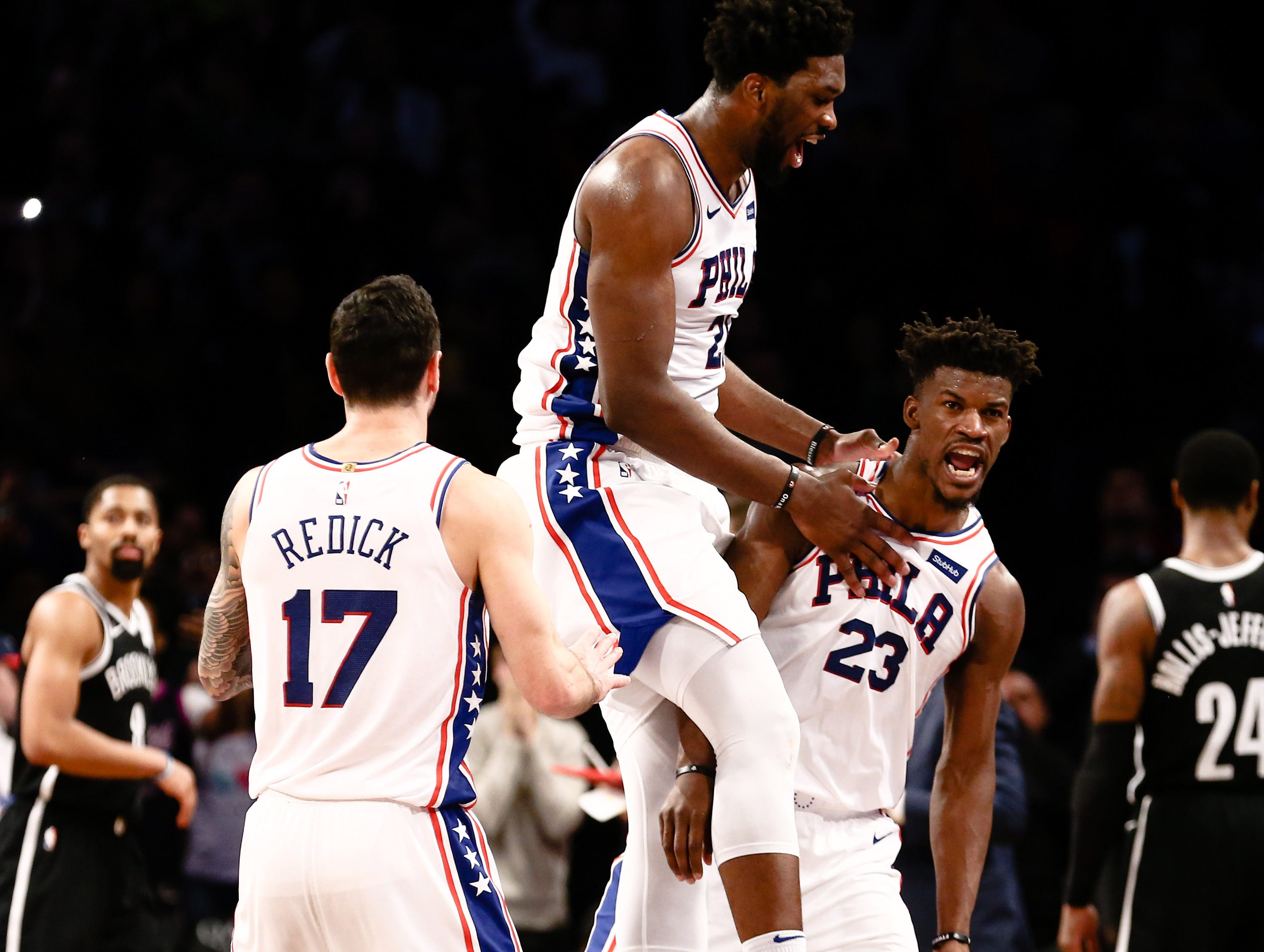 Nov. 25: Philadelphia 76ers forward Jimmy Butler celebrates after his game-winning 3-pointer against the Brooklyn Nets at Barclays Center.