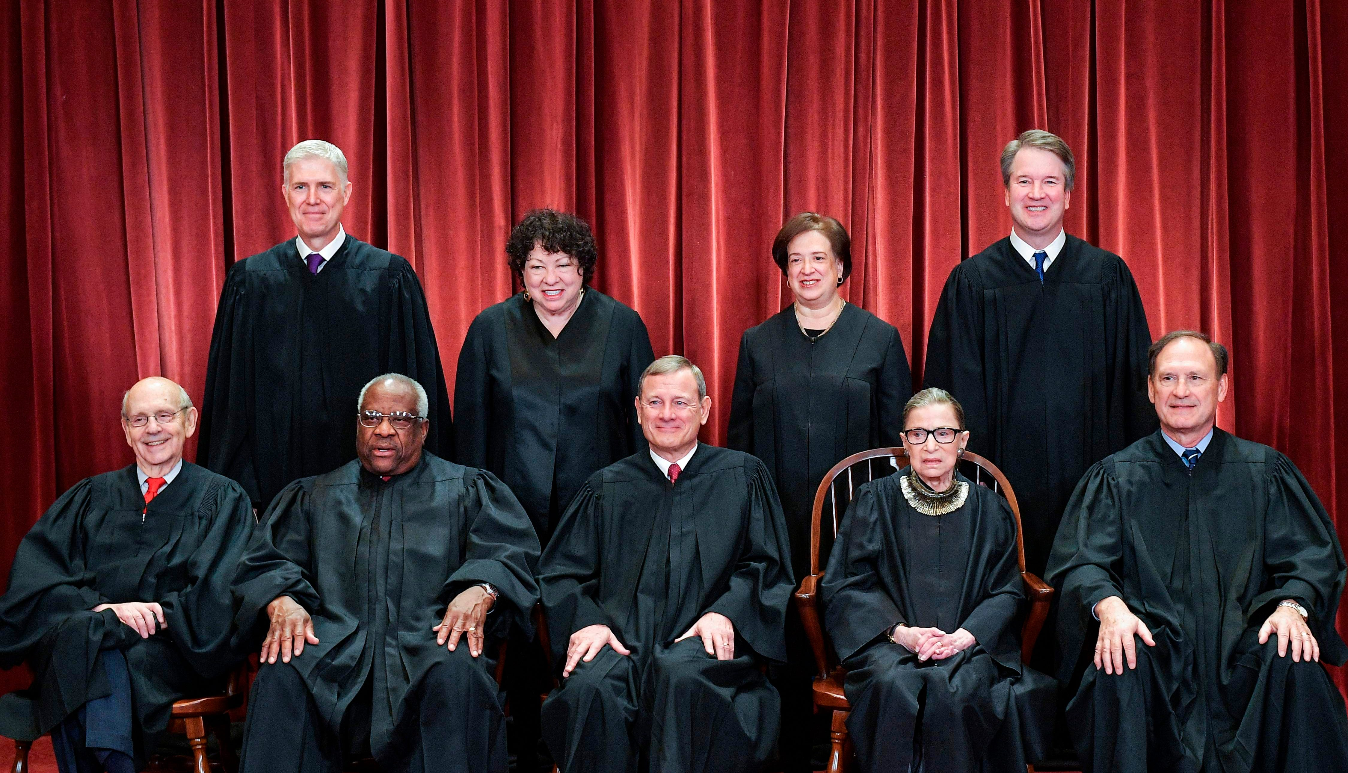 Associate Justices Neil Gorsuch, top left, and Brett Kavanaugh, top right, are staking out different positions on the Supreme Court.