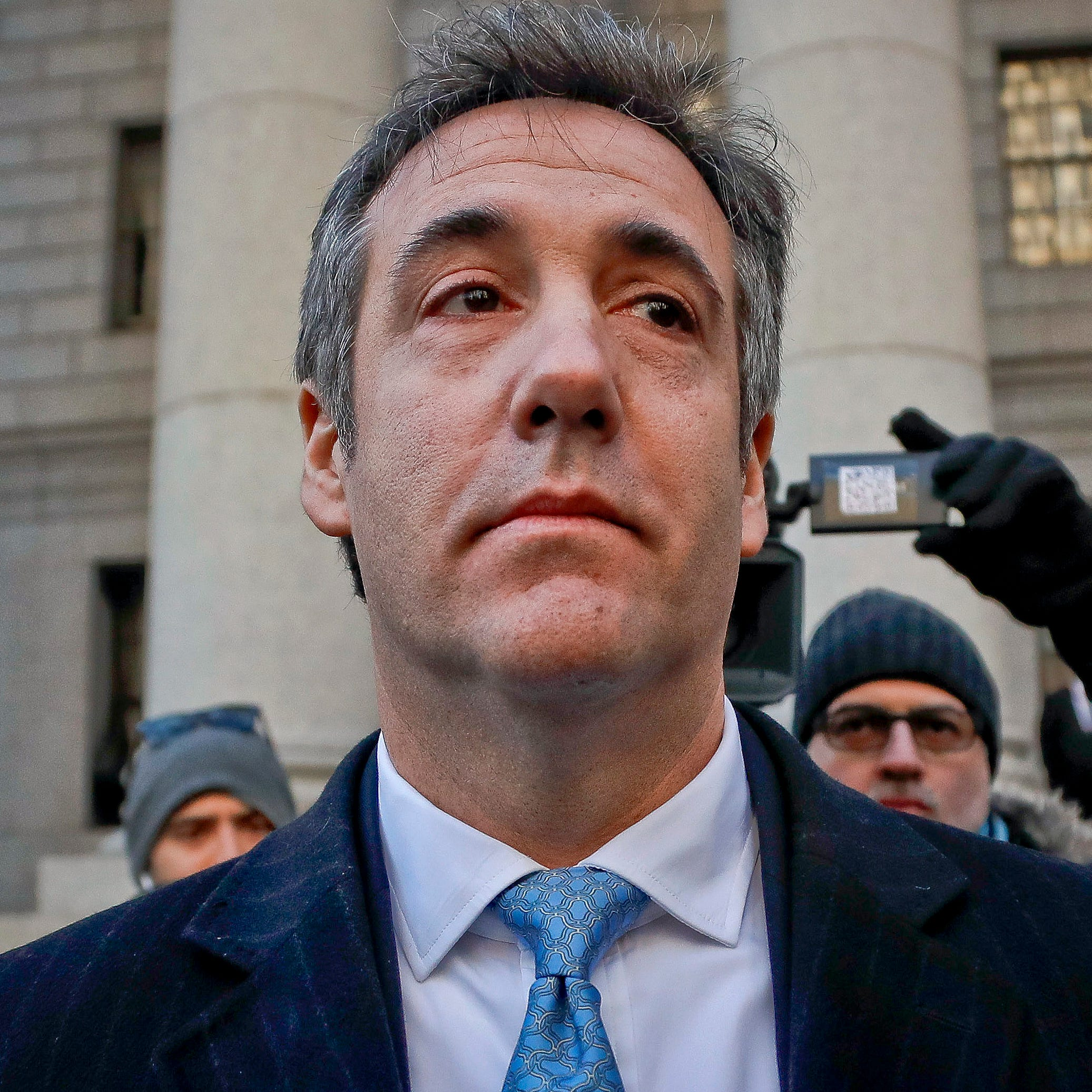 President Donald Trump's former personal lawyer Michael Cohen pictured walking out of federal court in New York.
