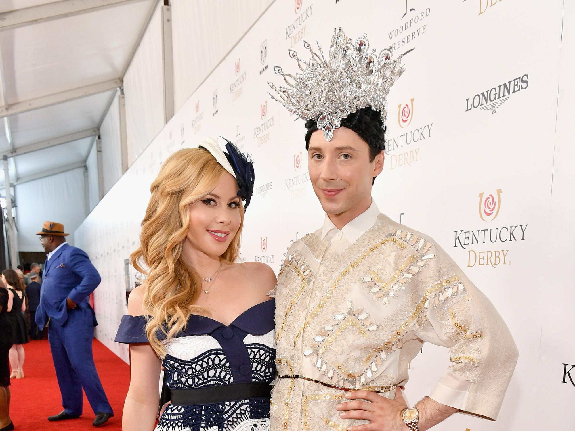 May 5: Figure skaters Tara Lipinski and Johnny Weir attend the Kentucky Derby.