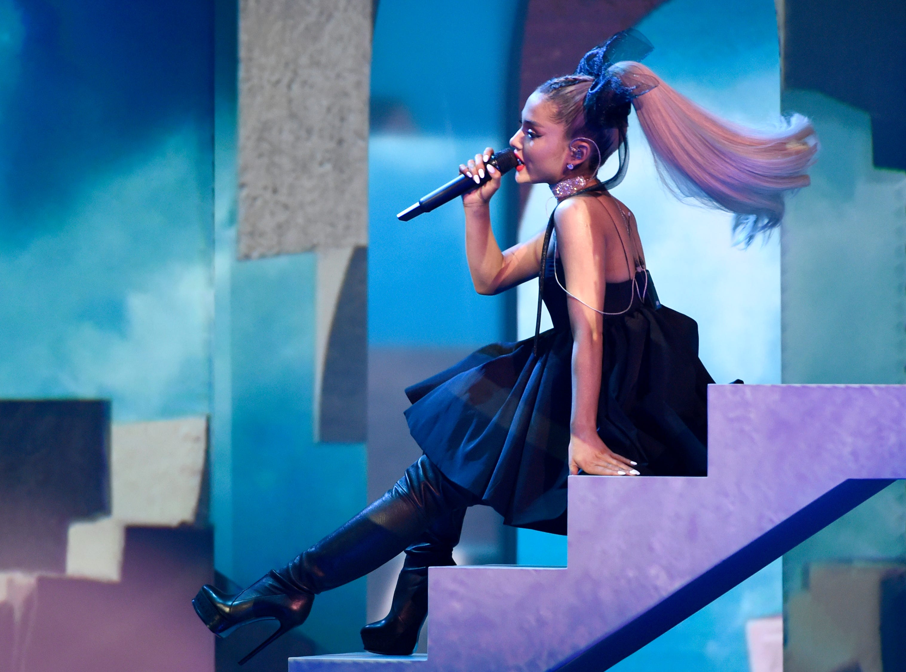 """May 20: Inside the Billboard Music Awards, Ariana Grande performs """"No Tears Left To Cry."""""""