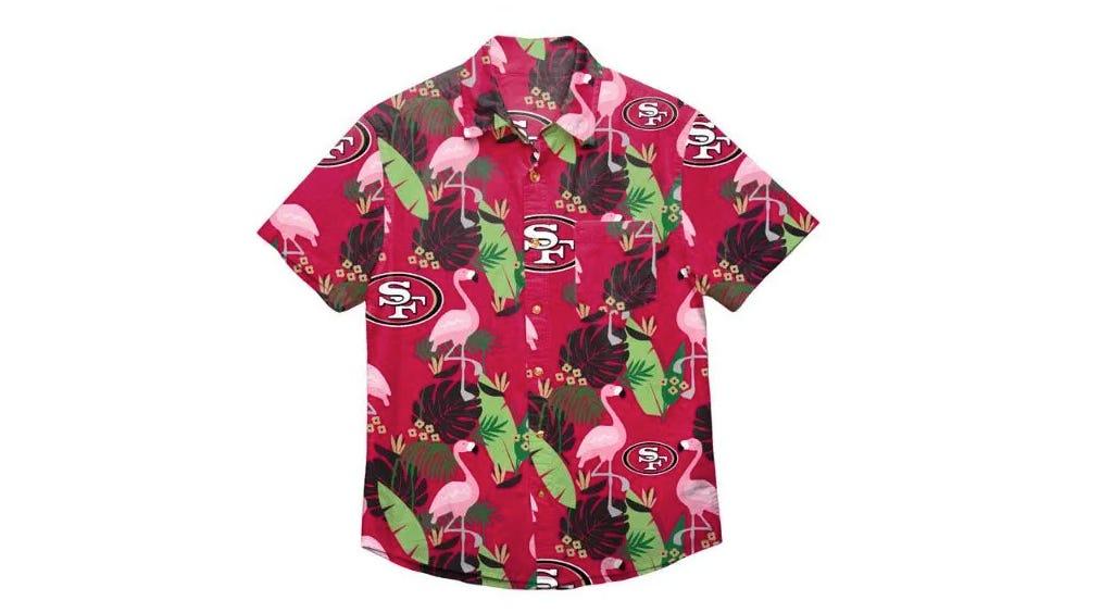 This San Francisco 49ers logo Hawaiian shirt epitomizes relaxation thanks to the flamingo design.