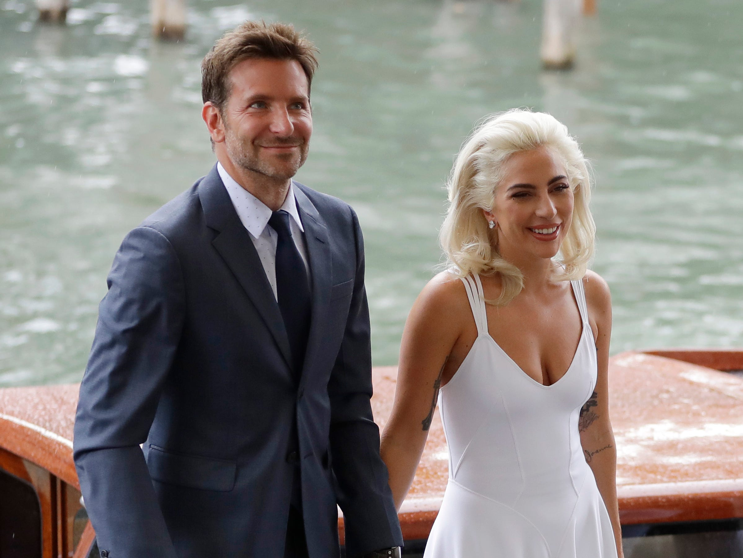"""August 31: Lady Gaga and Bradley Cooper pose before the Venice screening of """"A Star Is Born."""""""