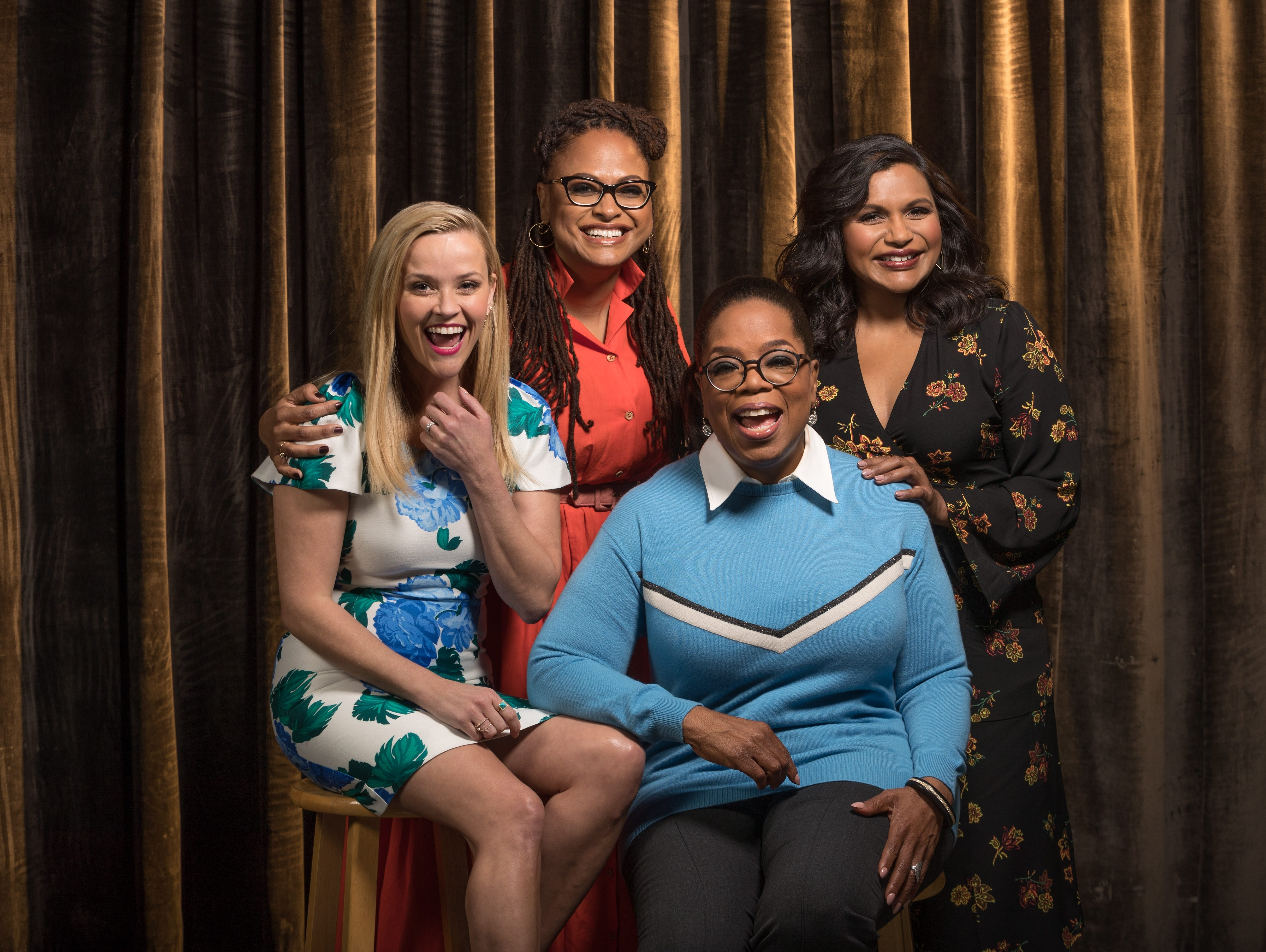"""Feb. 25: Reese Witherspoon, Ava DuVernay, Oprah Winfrey and Mindy Kaling pose together before an interview in Hollywood about """"A Wrinkle in Time."""""""