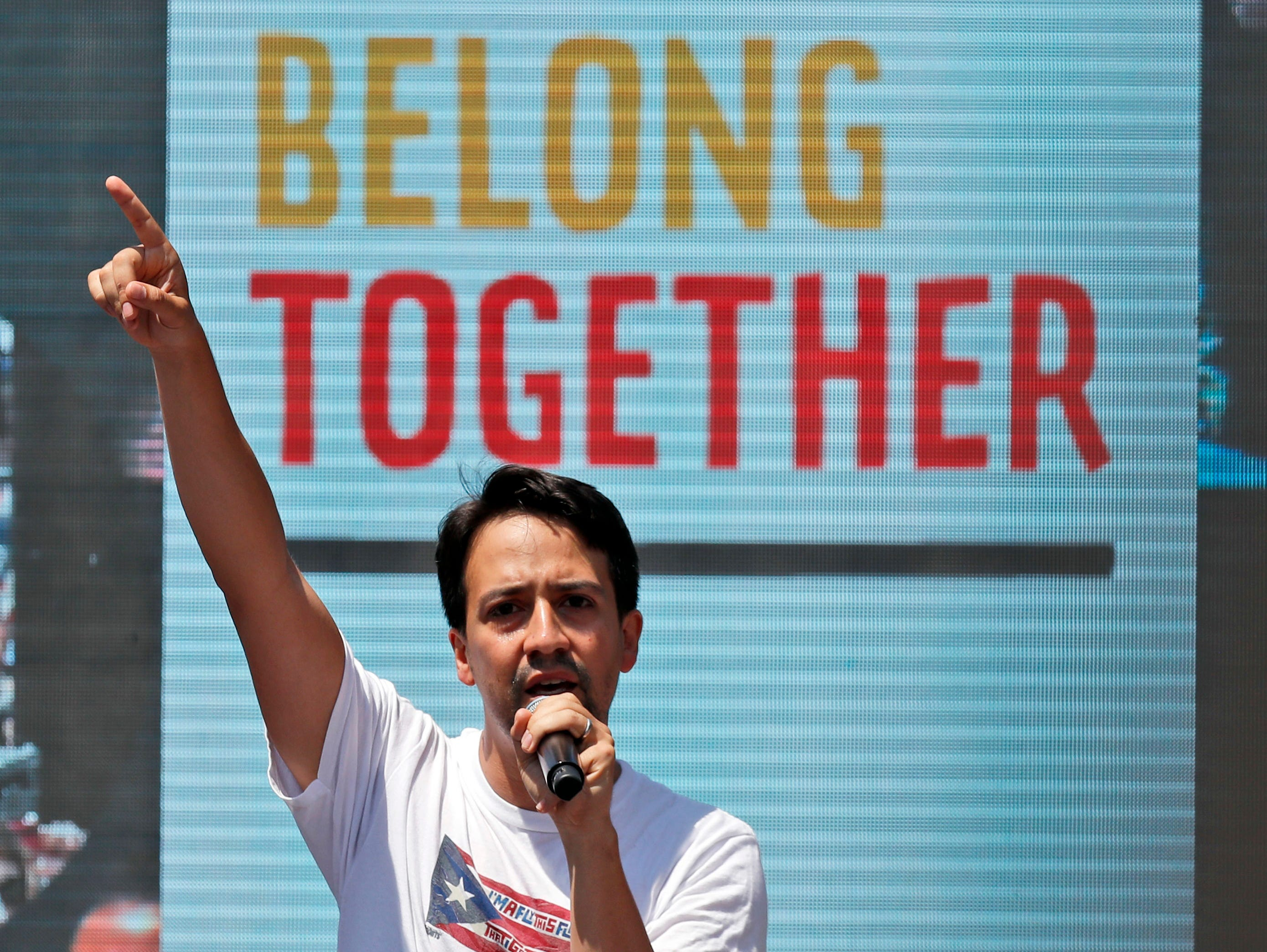 June 30: Lin-Manuel Miranda speaks during a protest of the Trump administration's approach to illegal border crossings and separation of children from immigrant parents across from the White House.