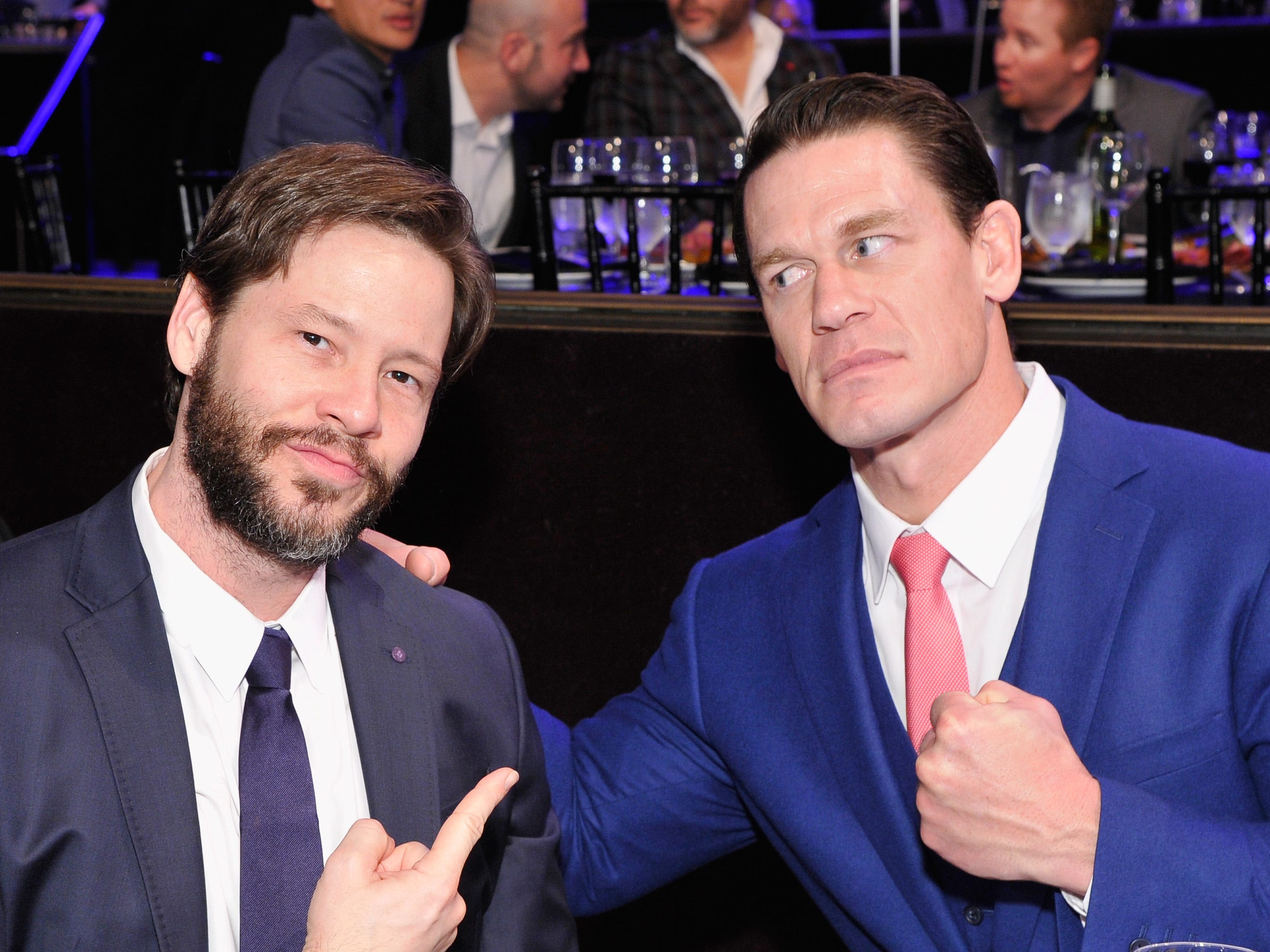 December 11: Ike Barinholtz and John Cena goof off at the Sports Illustrated Sportsperson of the Year Awards.