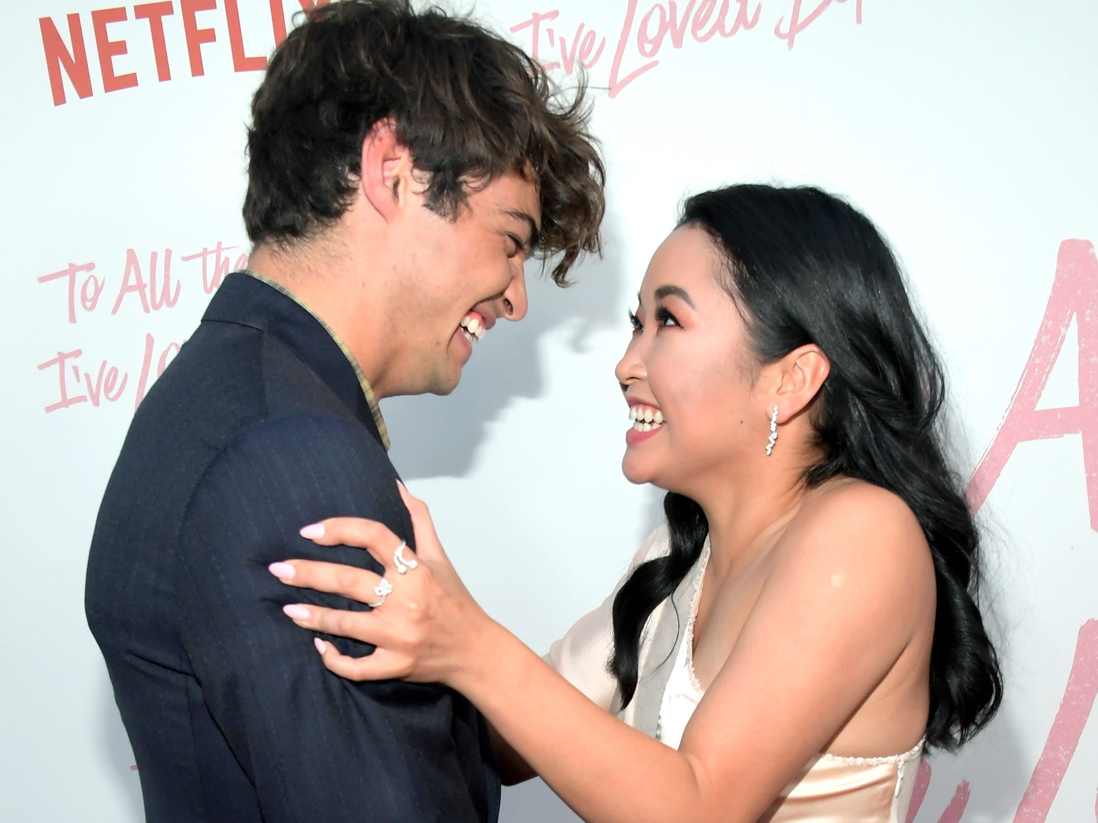 """August 16:  Noah Centineo and  Lana Condor smile together at the LA premiere for Netflix's """"To All the Boys I've Loved Before."""""""