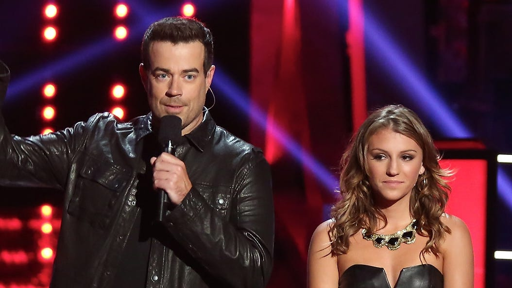 "Former ""Voice"" contestant Jordan Pruitt with host Carson Daly."